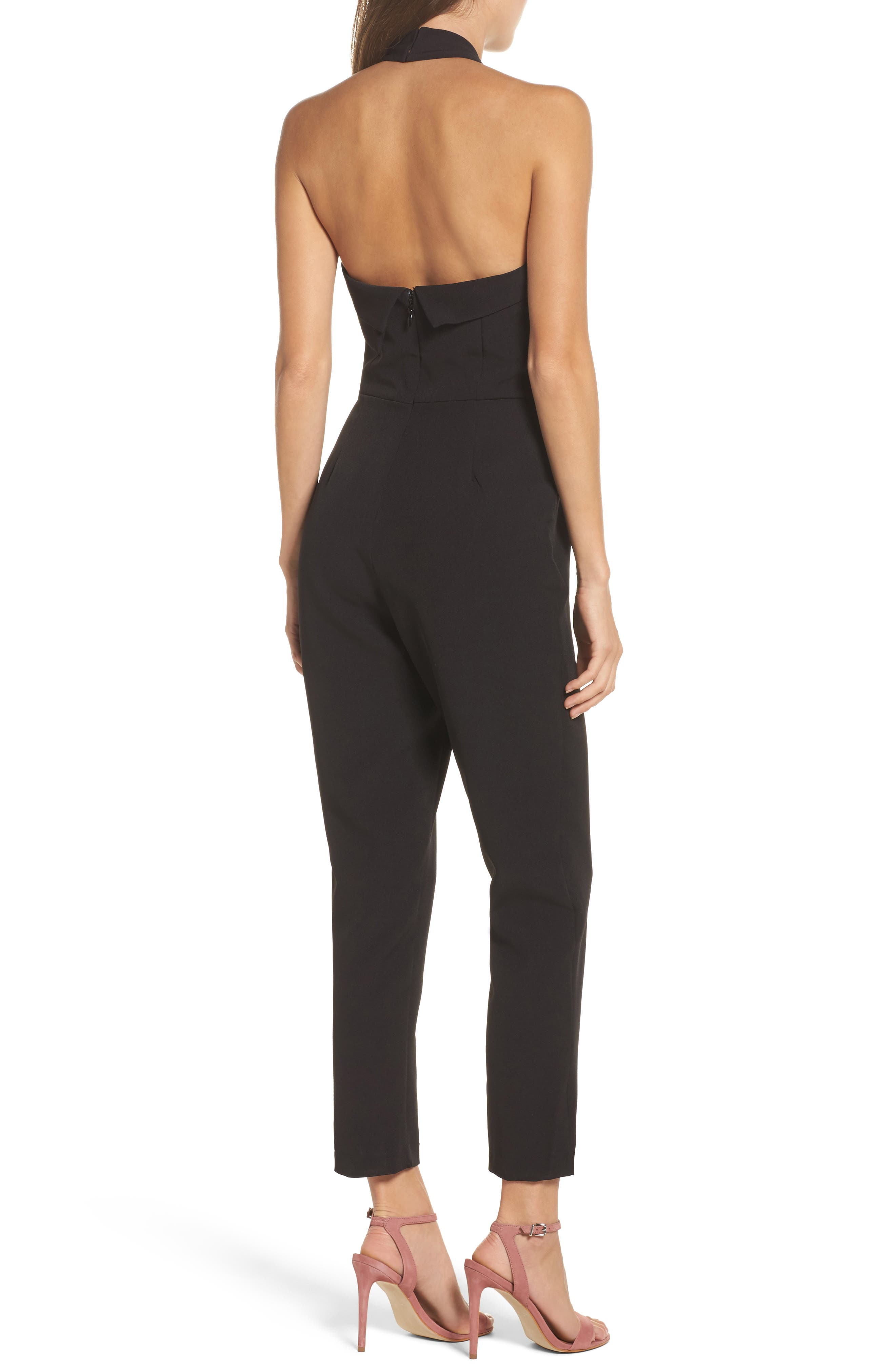 Halter Jumpsuit,                             Alternate thumbnail 3, color,