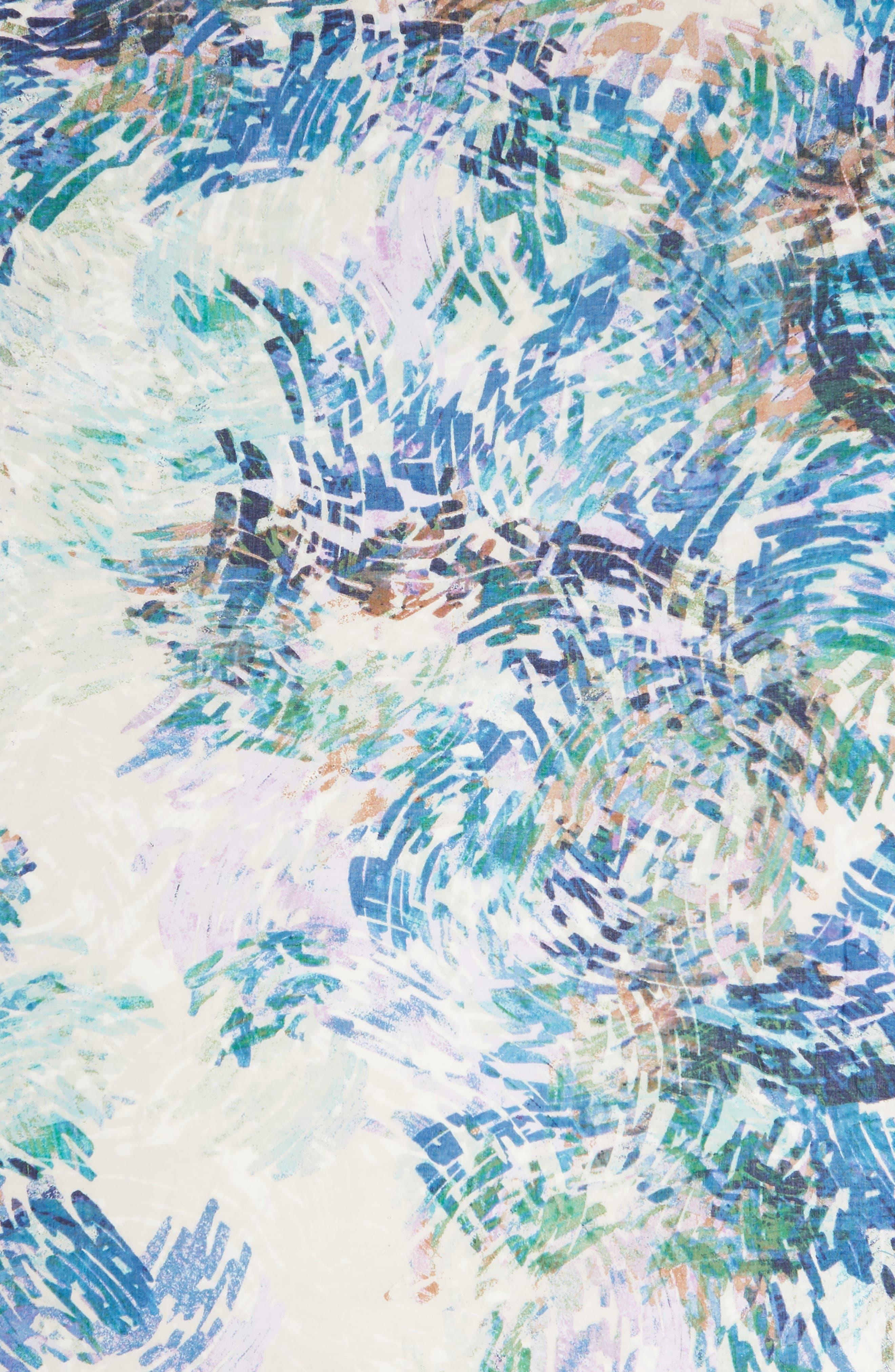 Eyelash Trim Print Cashmere & Silk Wrap,                             Alternate thumbnail 4, color,                             BLUE WATER WASH