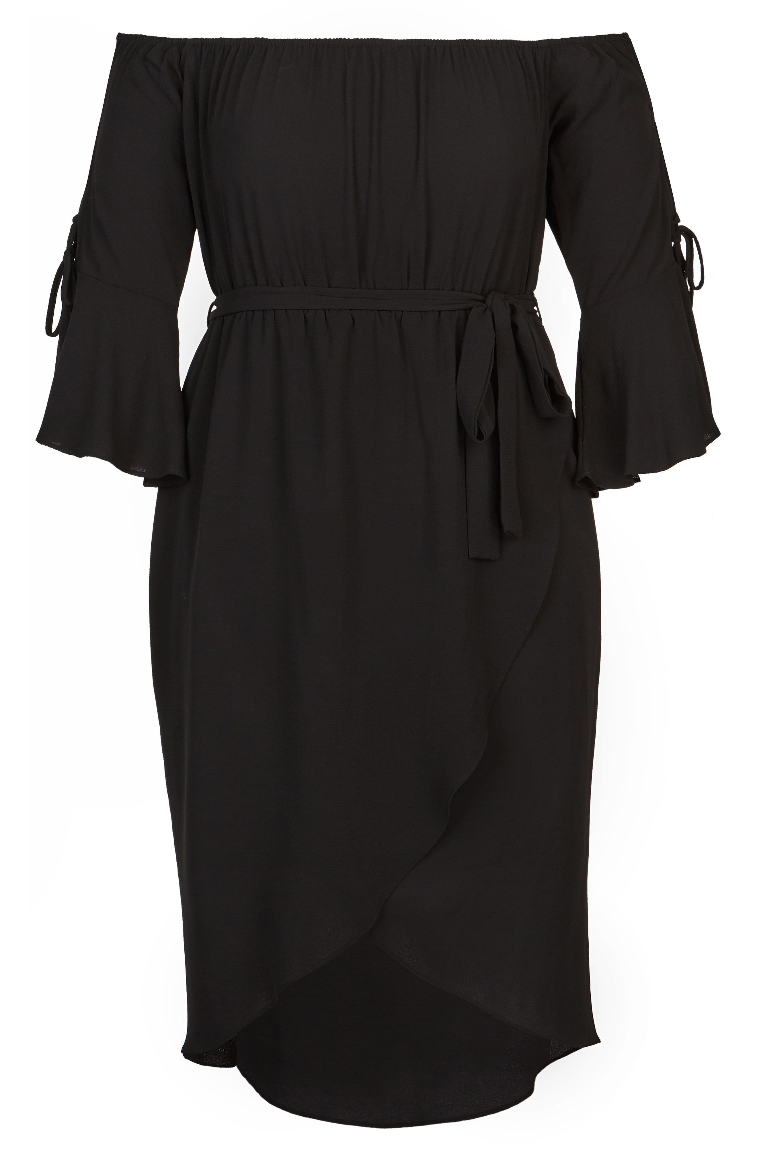 Lace Bell Sleeve Off the Shoulder Midi Dress,                             Alternate thumbnail 3, color,                             BLACK