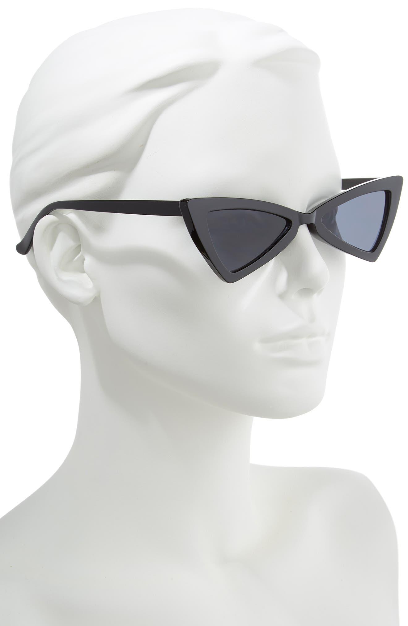 Futuristic 55mm Cat Eye Sunglasses,                             Alternate thumbnail 2, color,                             BLACK