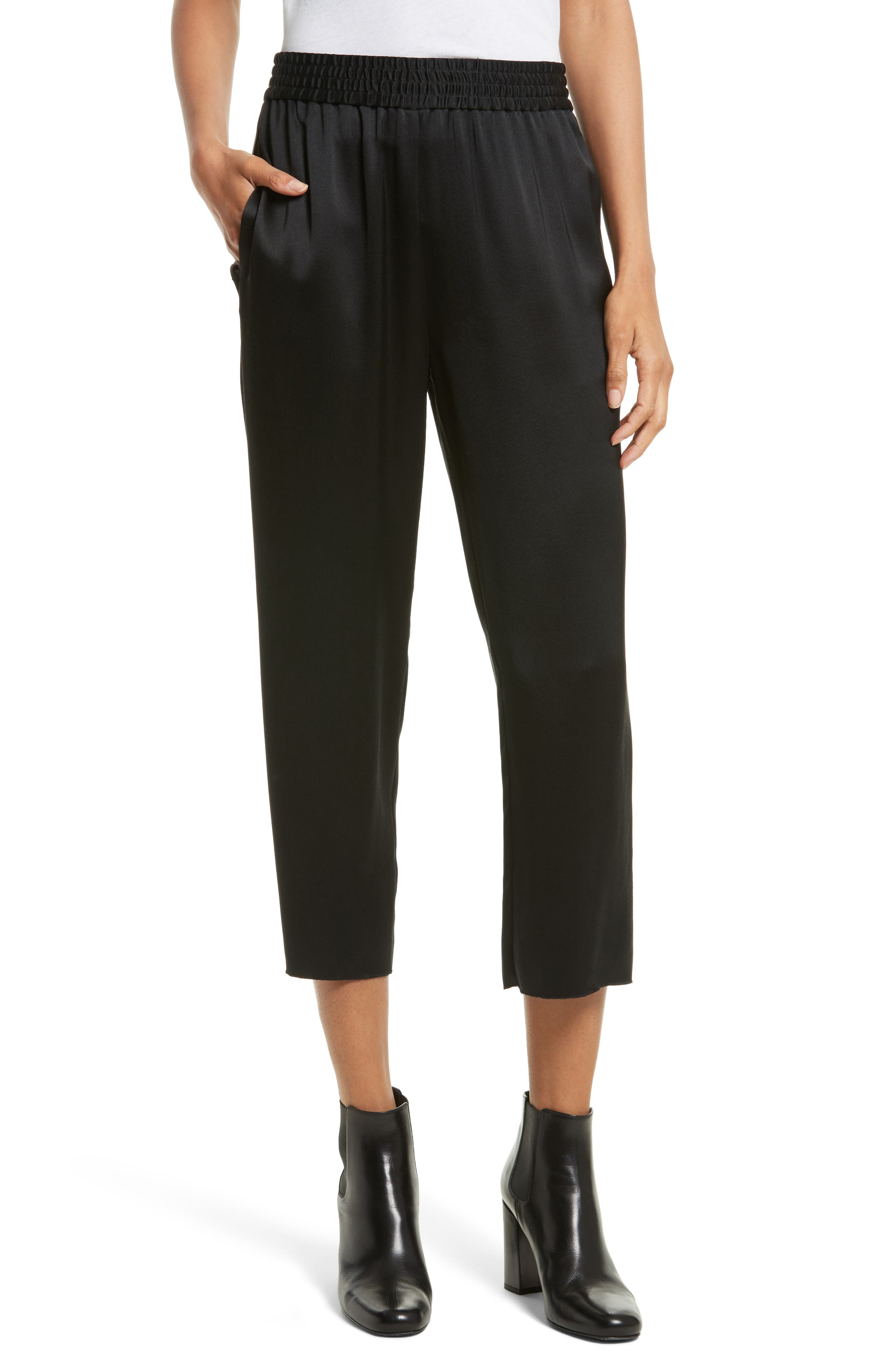 Jules Raw Edge Silk Crop Pants,                         Main,                         color, 003