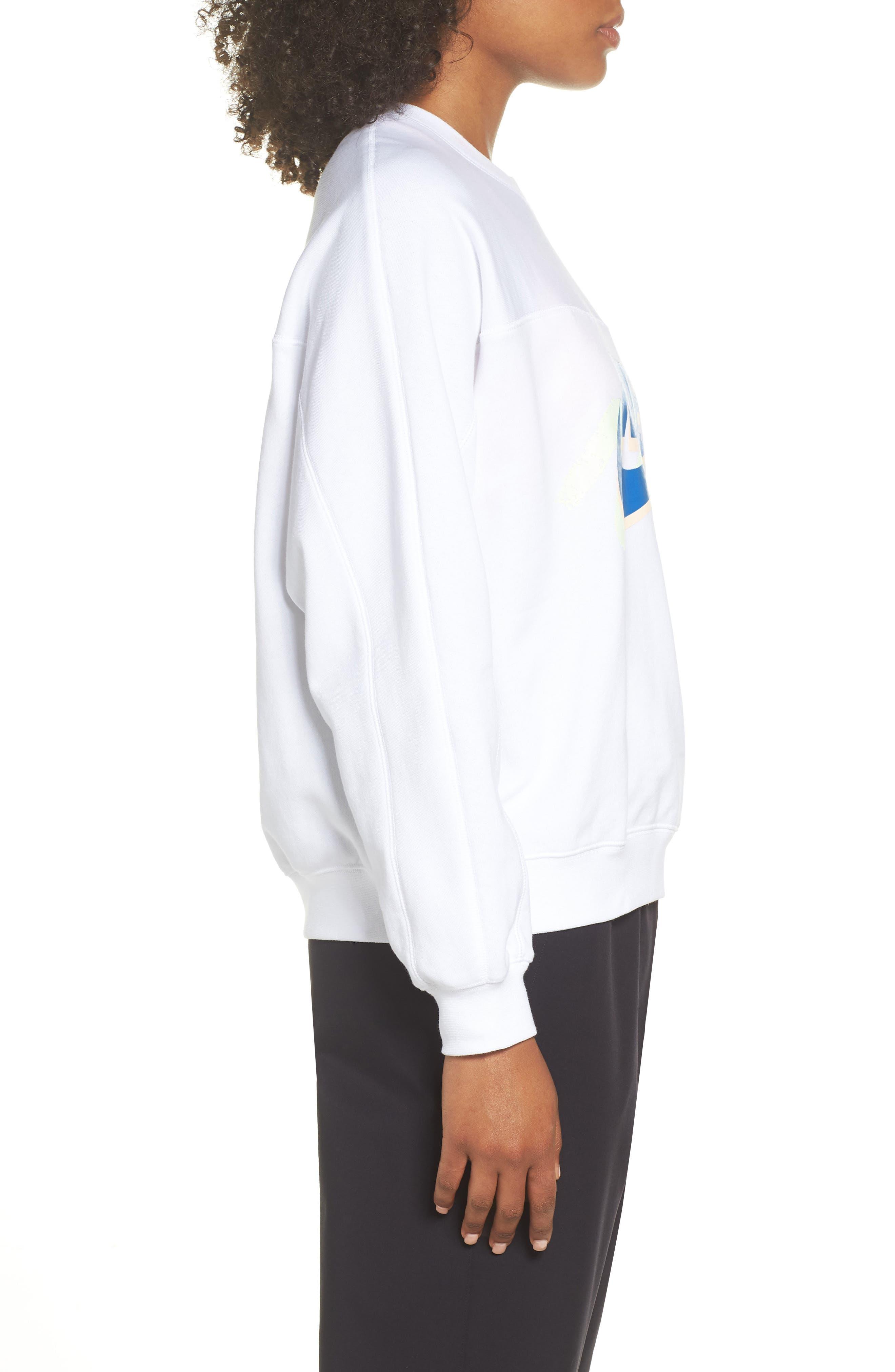 Sportswear Archive Women's Long Sleeve Crewneck Tee,                             Alternate thumbnail 6, color,                             WHITE/ WHITE/ WHITE