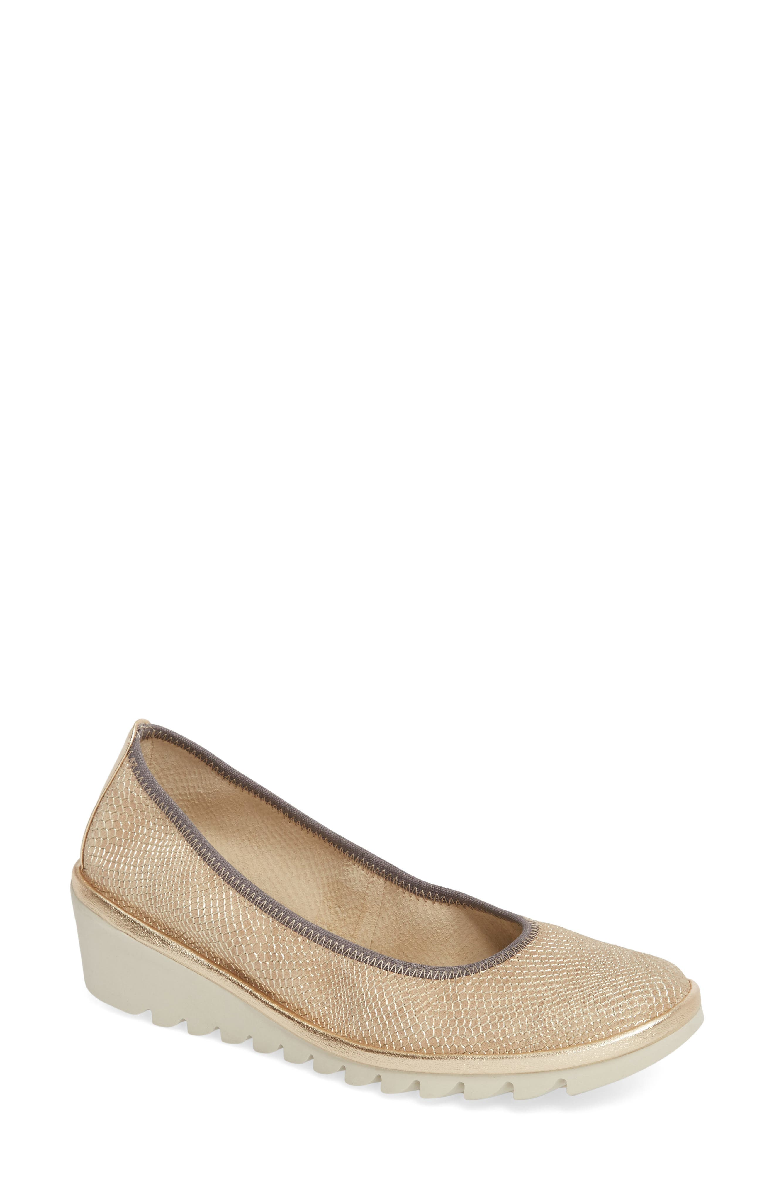 Mel A Drama Wedge Skimmer,                             Main thumbnail 1, color,                             DUNE LEATHER