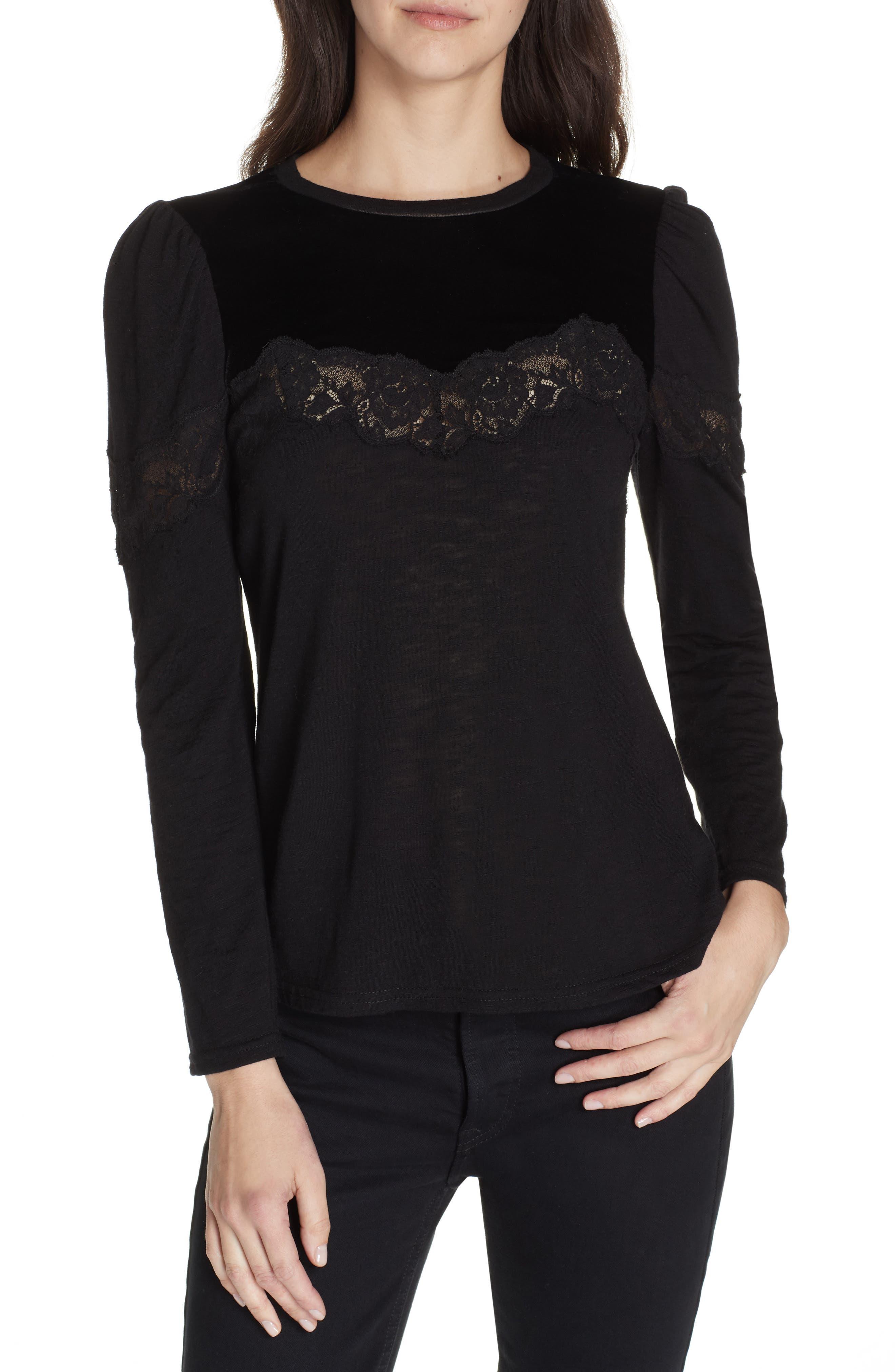 Velvet & Lace Top,                         Main,                         color, BLACK COMBO