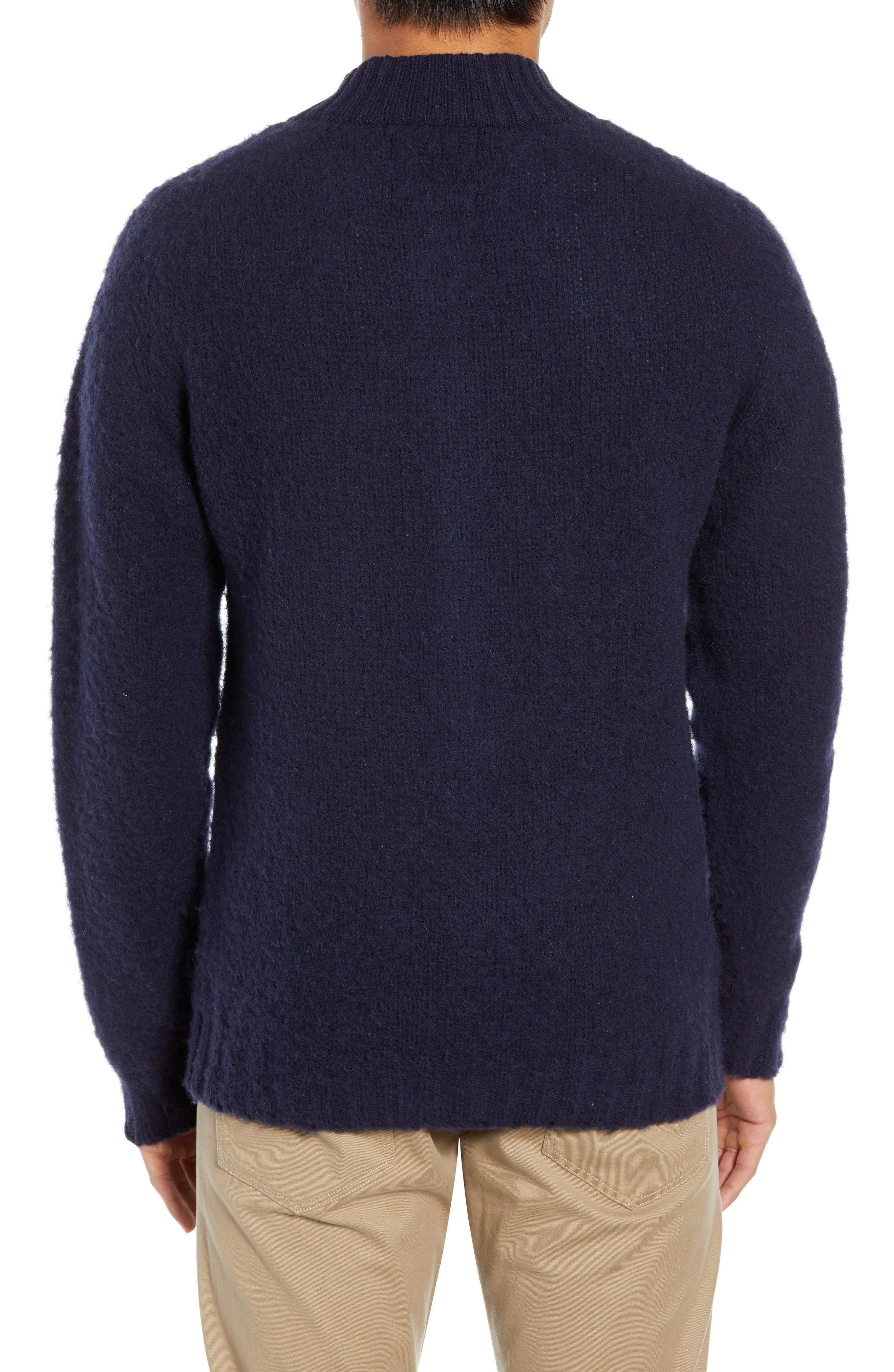 Baseball Cardy Wool Sweater,                             Alternate thumbnail 2, color,                             NAVY