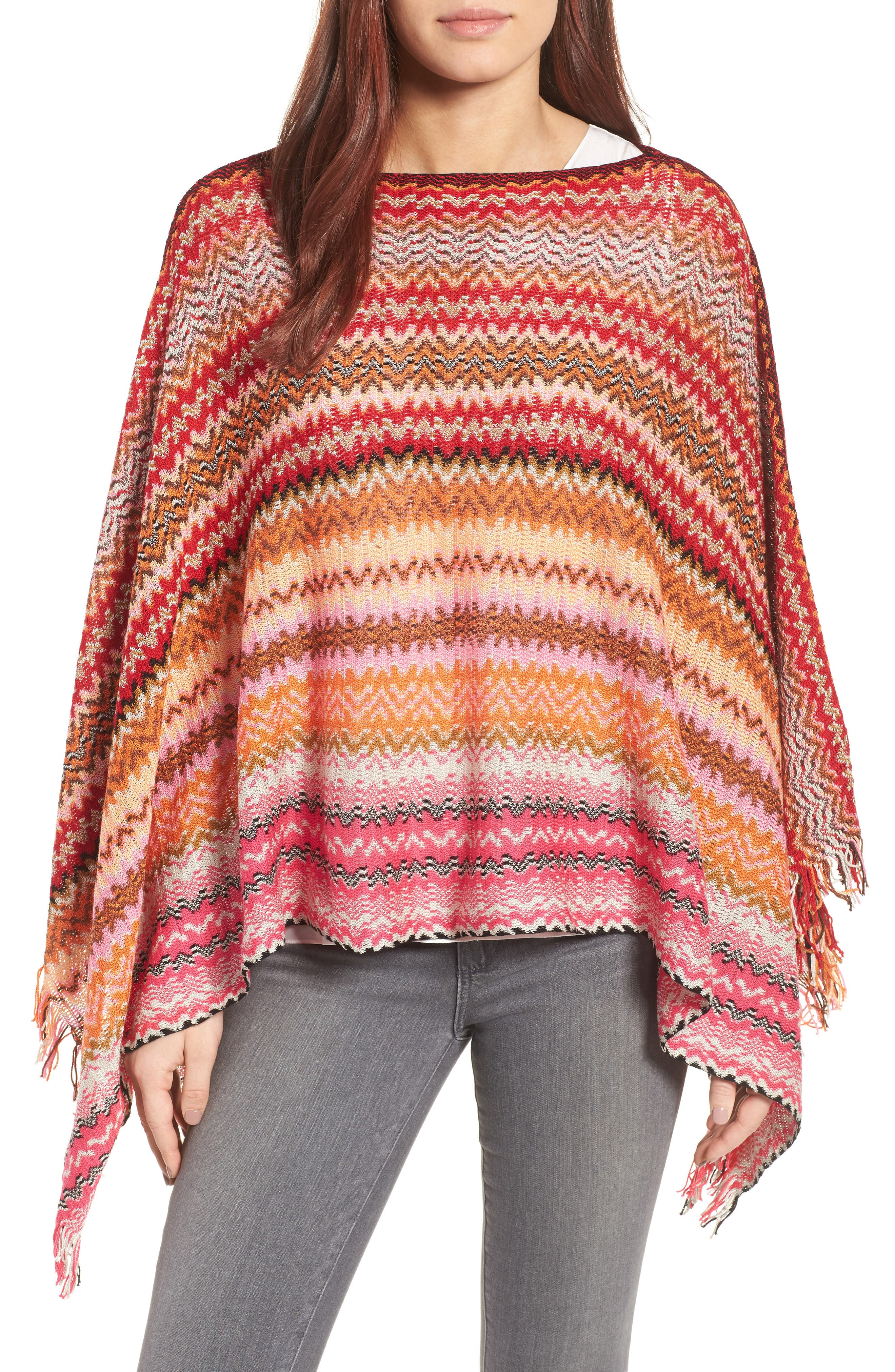Fringe Poncho,                             Main thumbnail 1, color,                             PINK/ RED MULTI