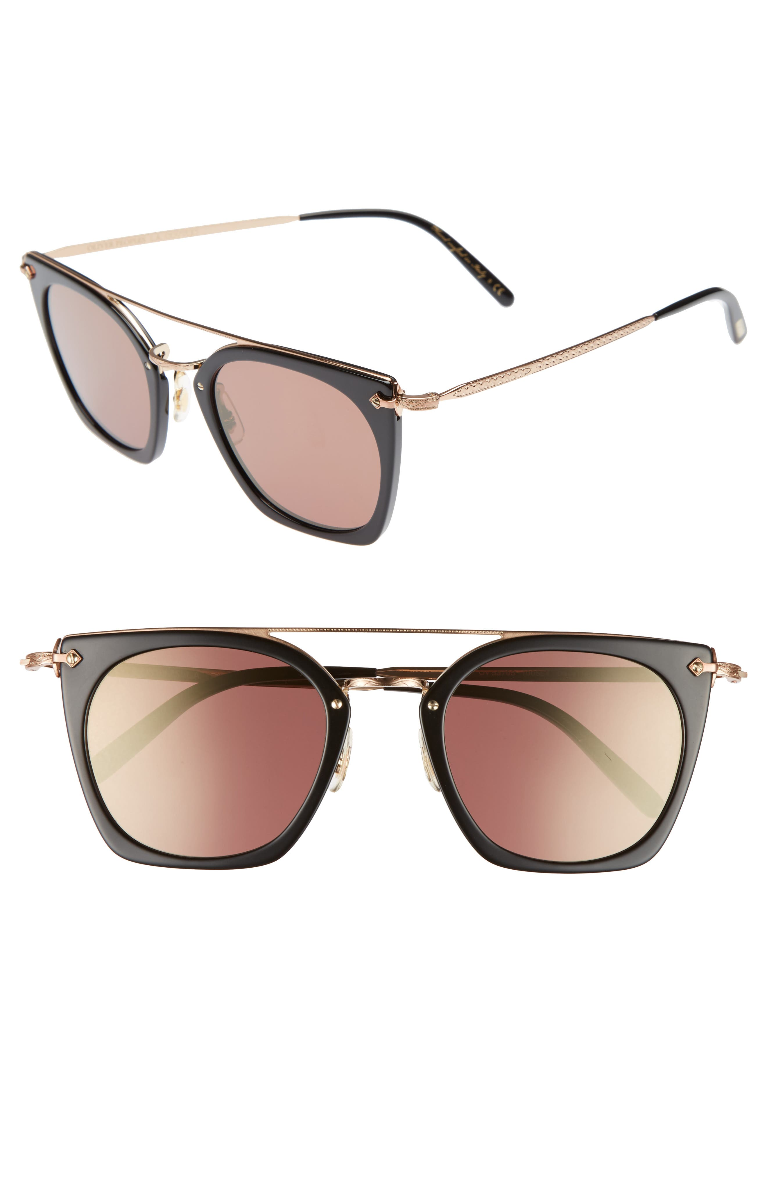 Dacette 50mm Square Aviator Sunglasses,                             Main thumbnail 1, color,                             BLACK/ ROSE GOLD