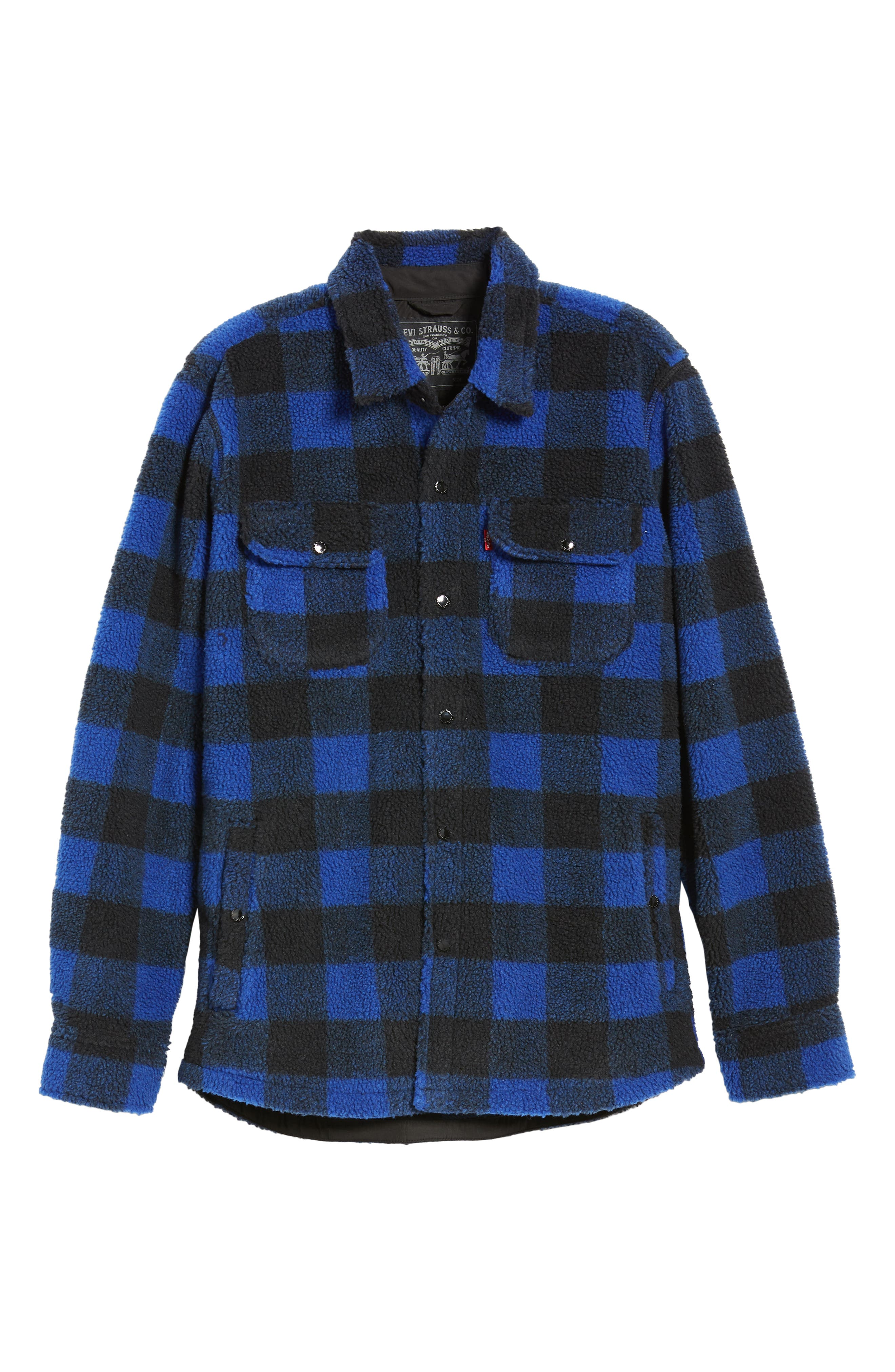 Plaid Faux Shearling Shirt,                             Alternate thumbnail 7, color,                             BLUE