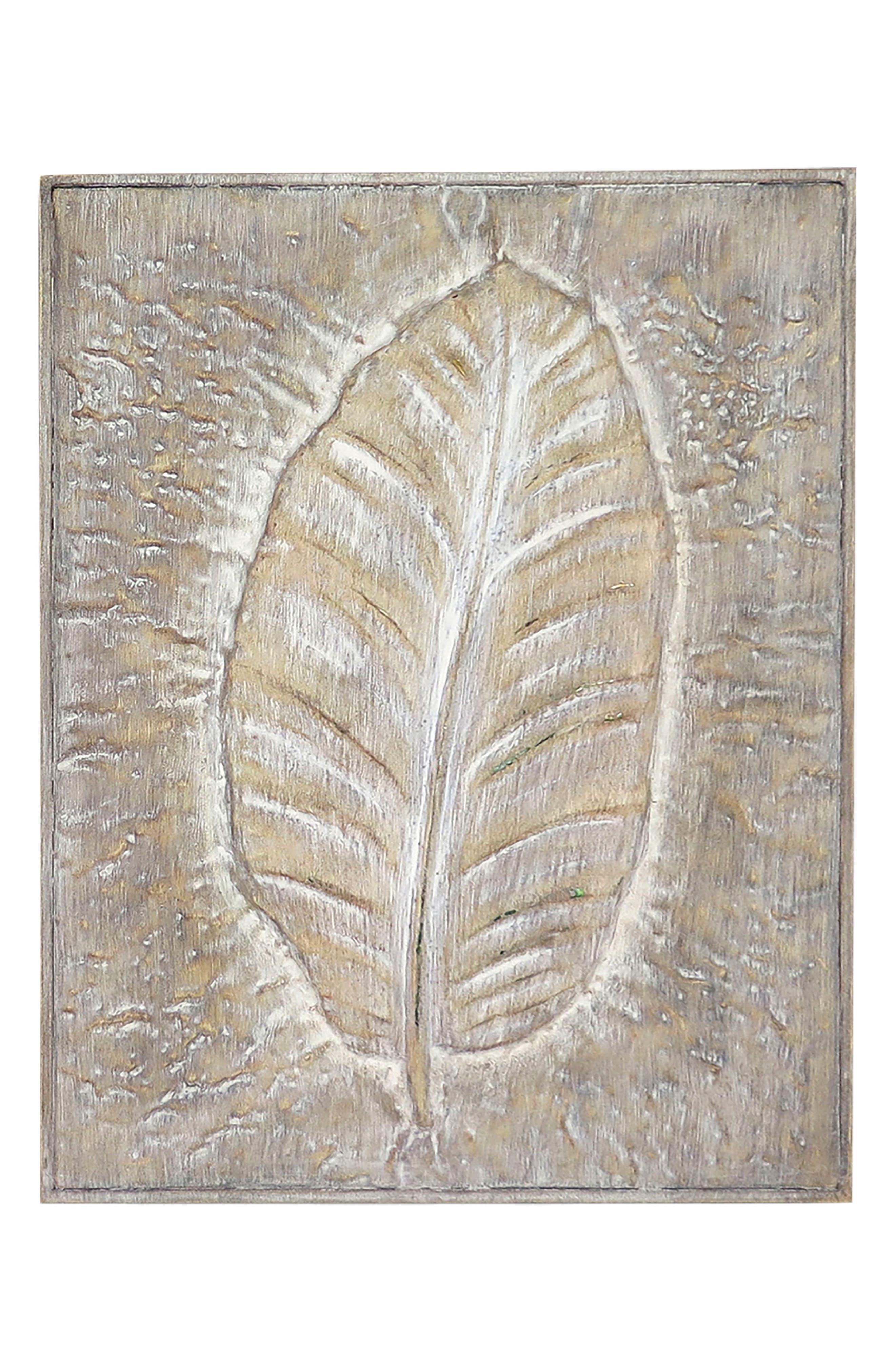 Embossed Leaf Wood Wall Art,                         Main,                         color,