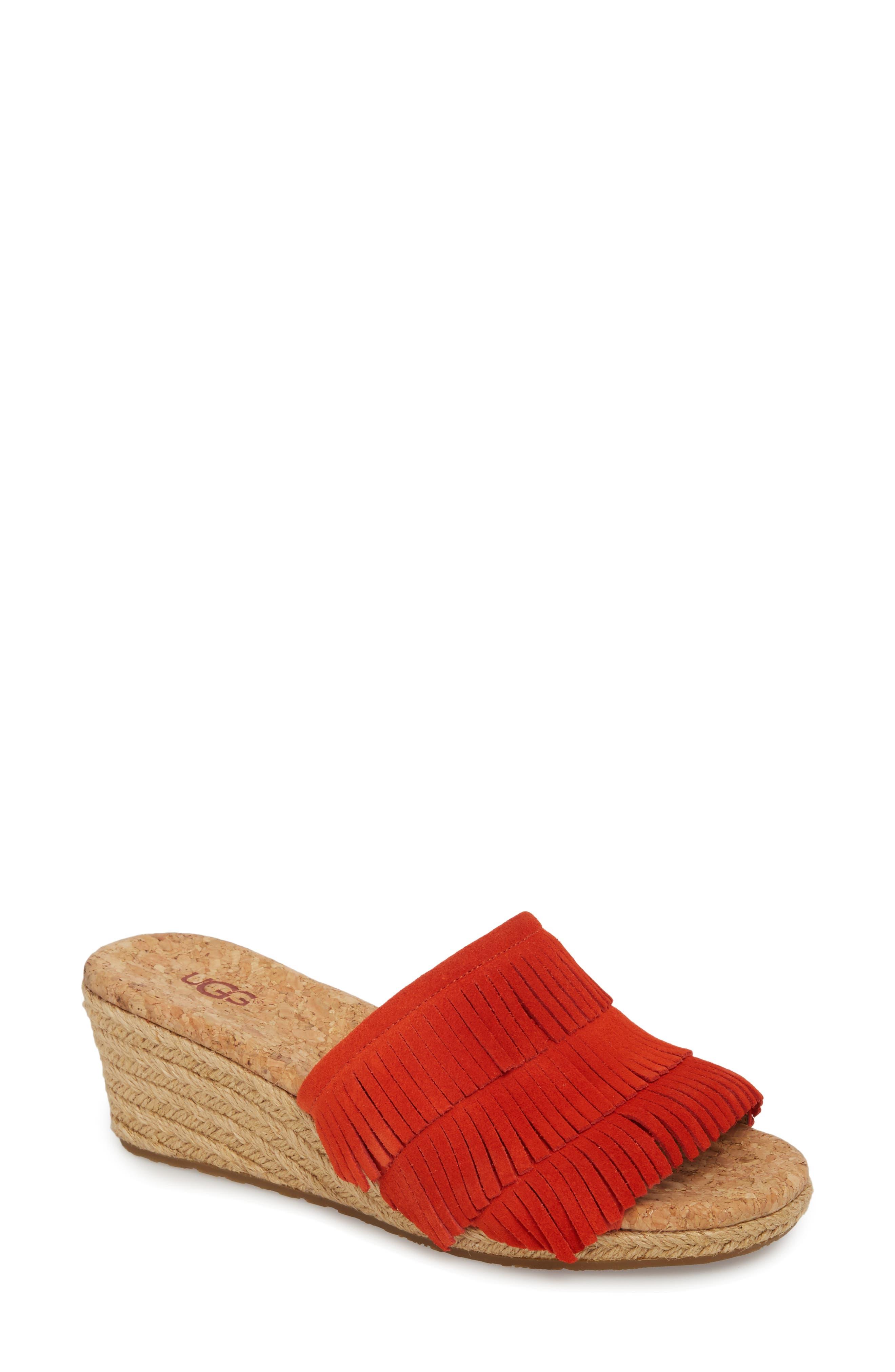 Kendra Fringe Wedge Sandal,                         Main,                         color, RED ORANGE
