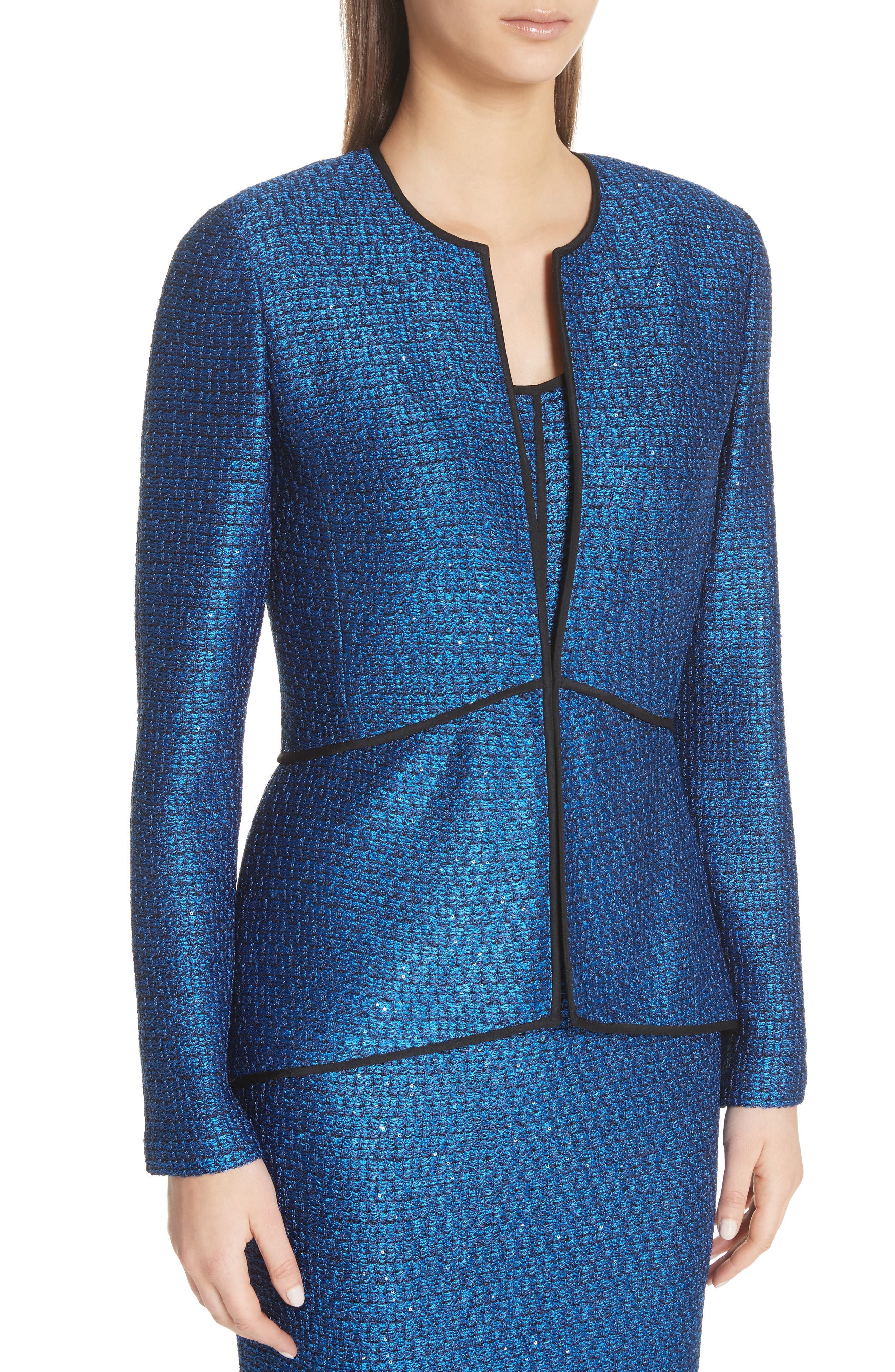 Luster Sequin Knit Jacket,                             Alternate thumbnail 4, color,                             COBALT MULTI