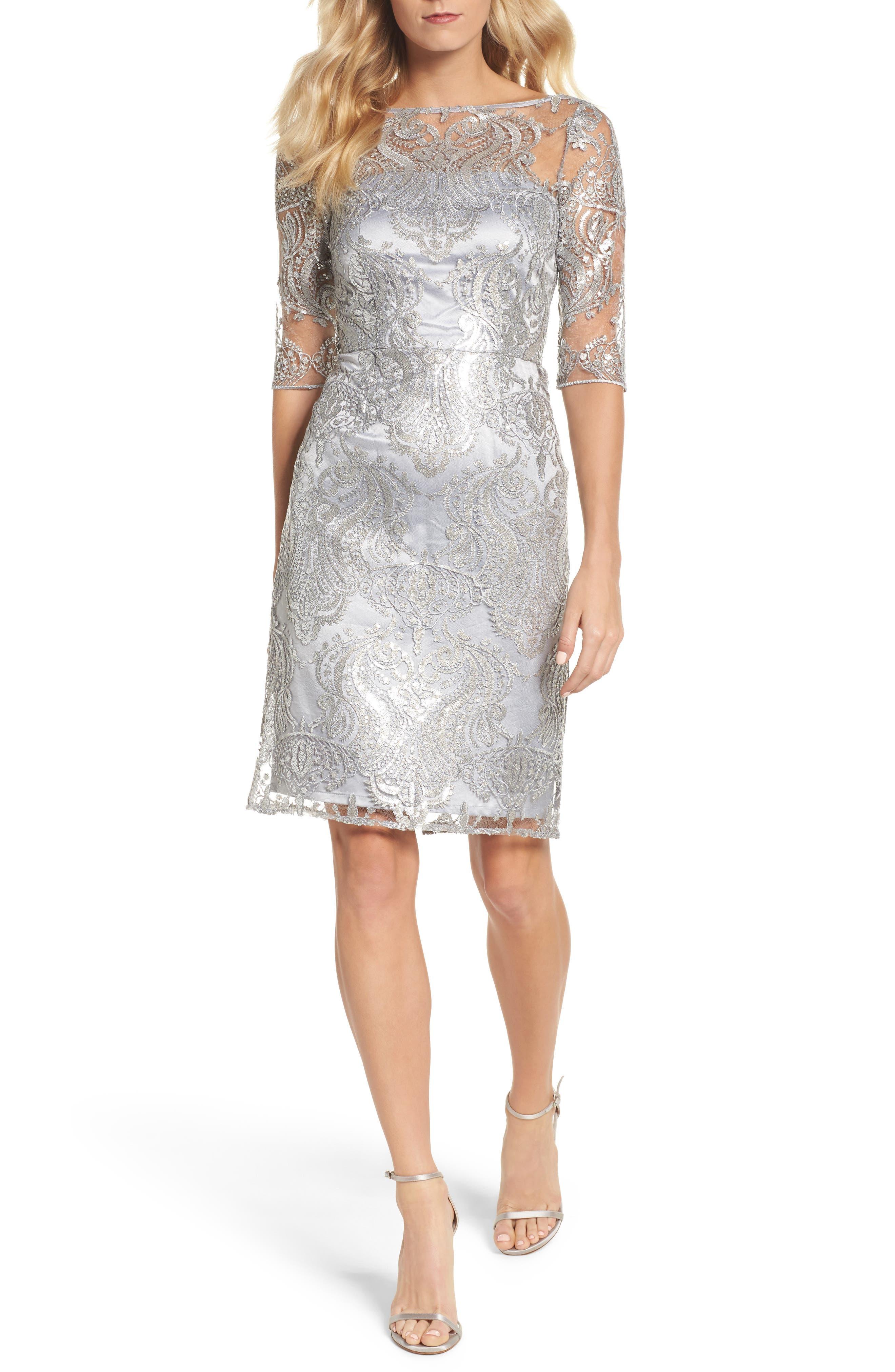 Sequin Illusion Sheath Dress,                             Main thumbnail 2, color,