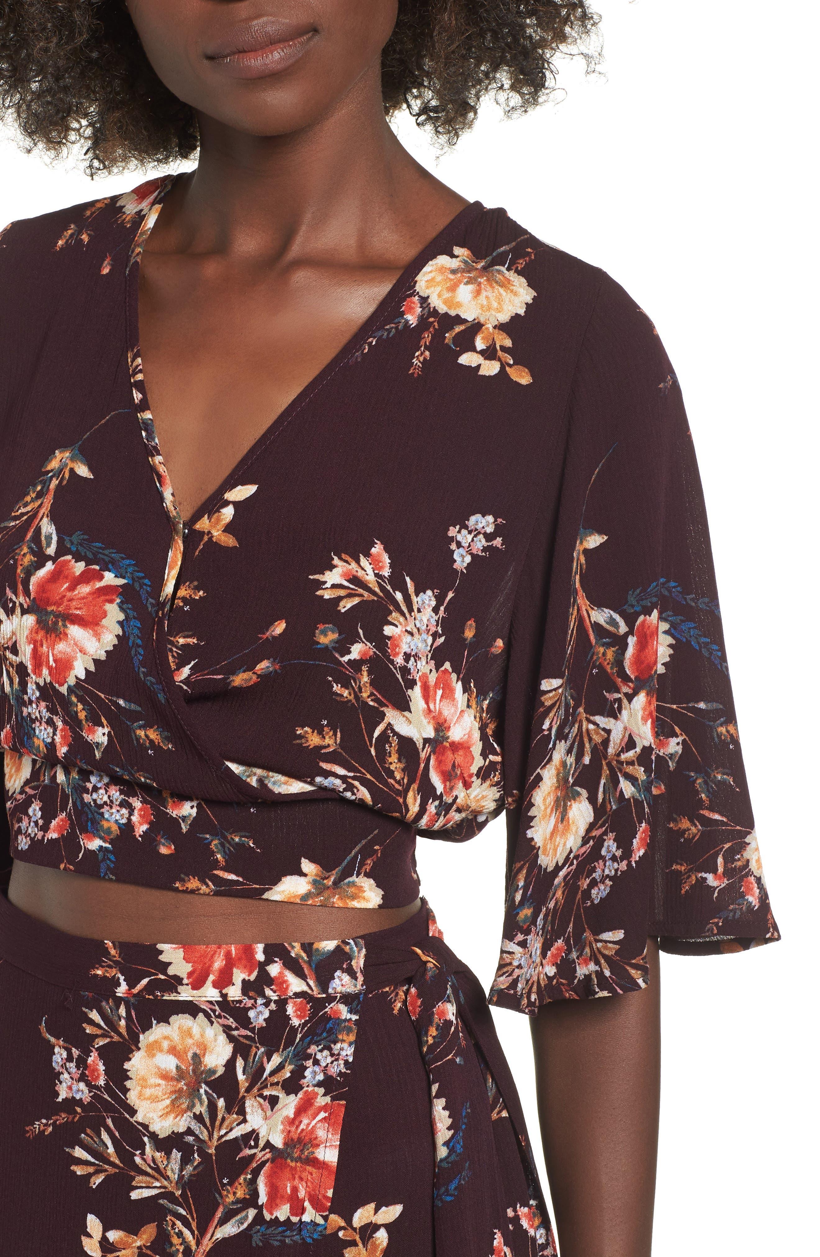 Shadow Floral Tie Back Crop Top,                             Alternate thumbnail 4, color,                             BURGUNDY/ PEACH