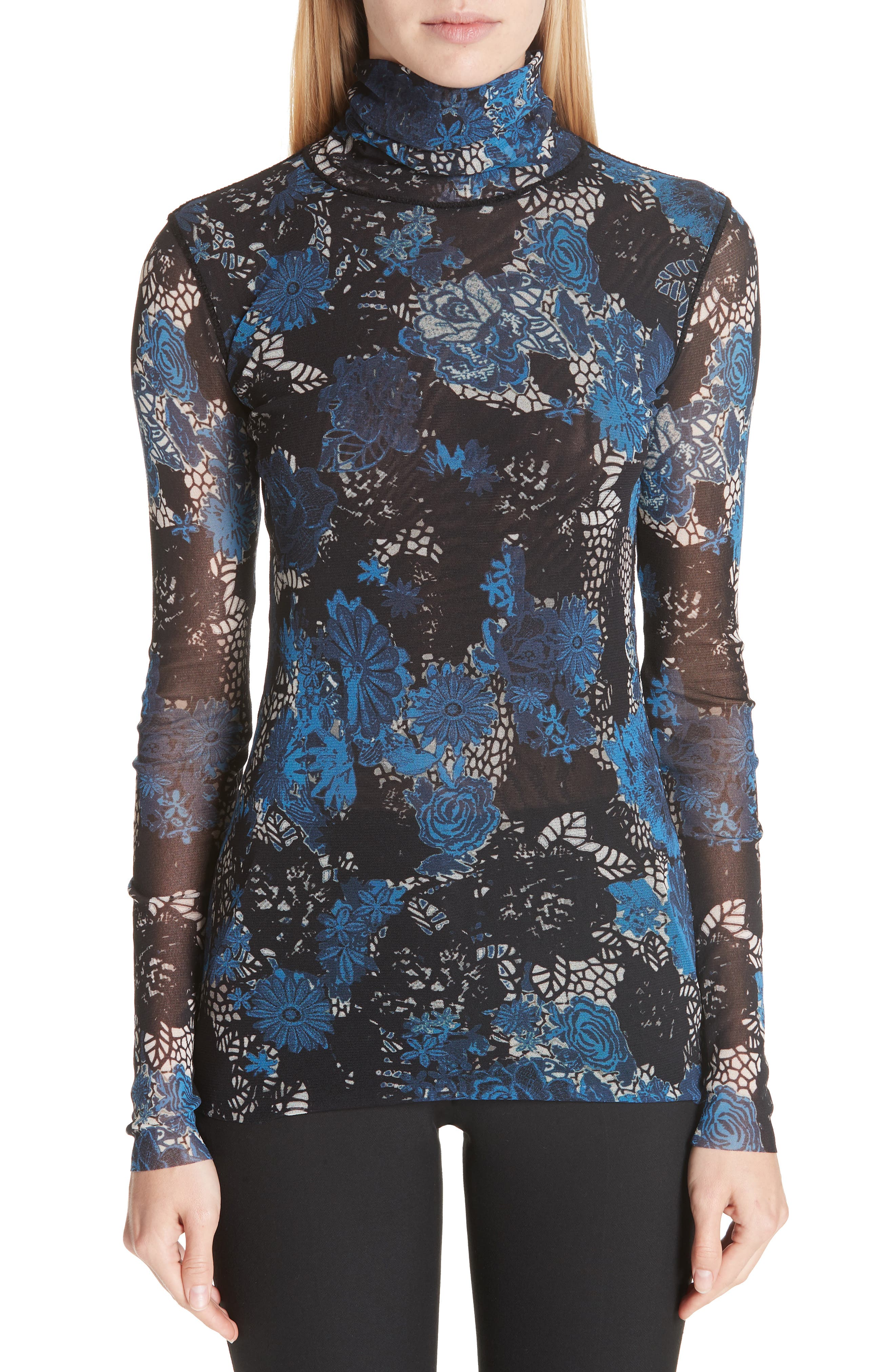 FUZZI Floral Lace Printed Tulle Turtleneck Top in Universo