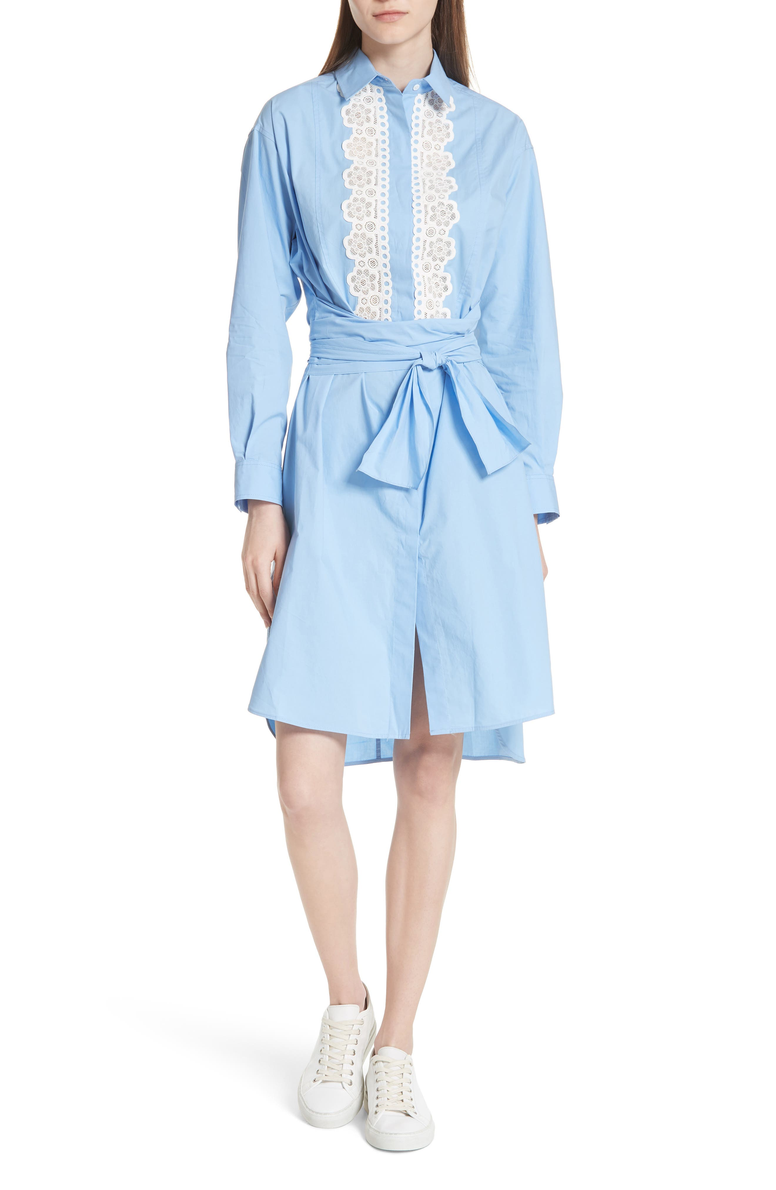 Bleu Ciel Cotton Shirtdress,                             Main thumbnail 1, color,