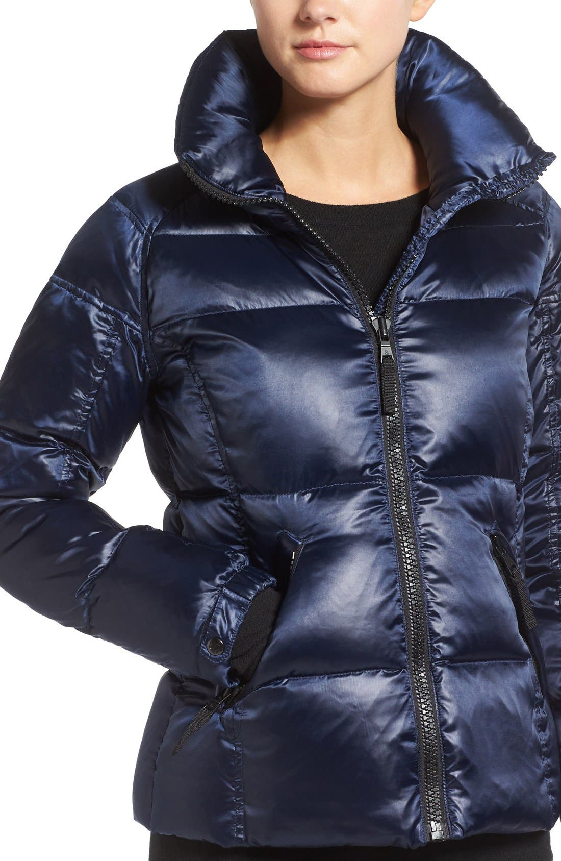 Kylie Metallic Quilted Jacket with Removable Hood,                             Alternate thumbnail 5, color,                             MIDNIGHT