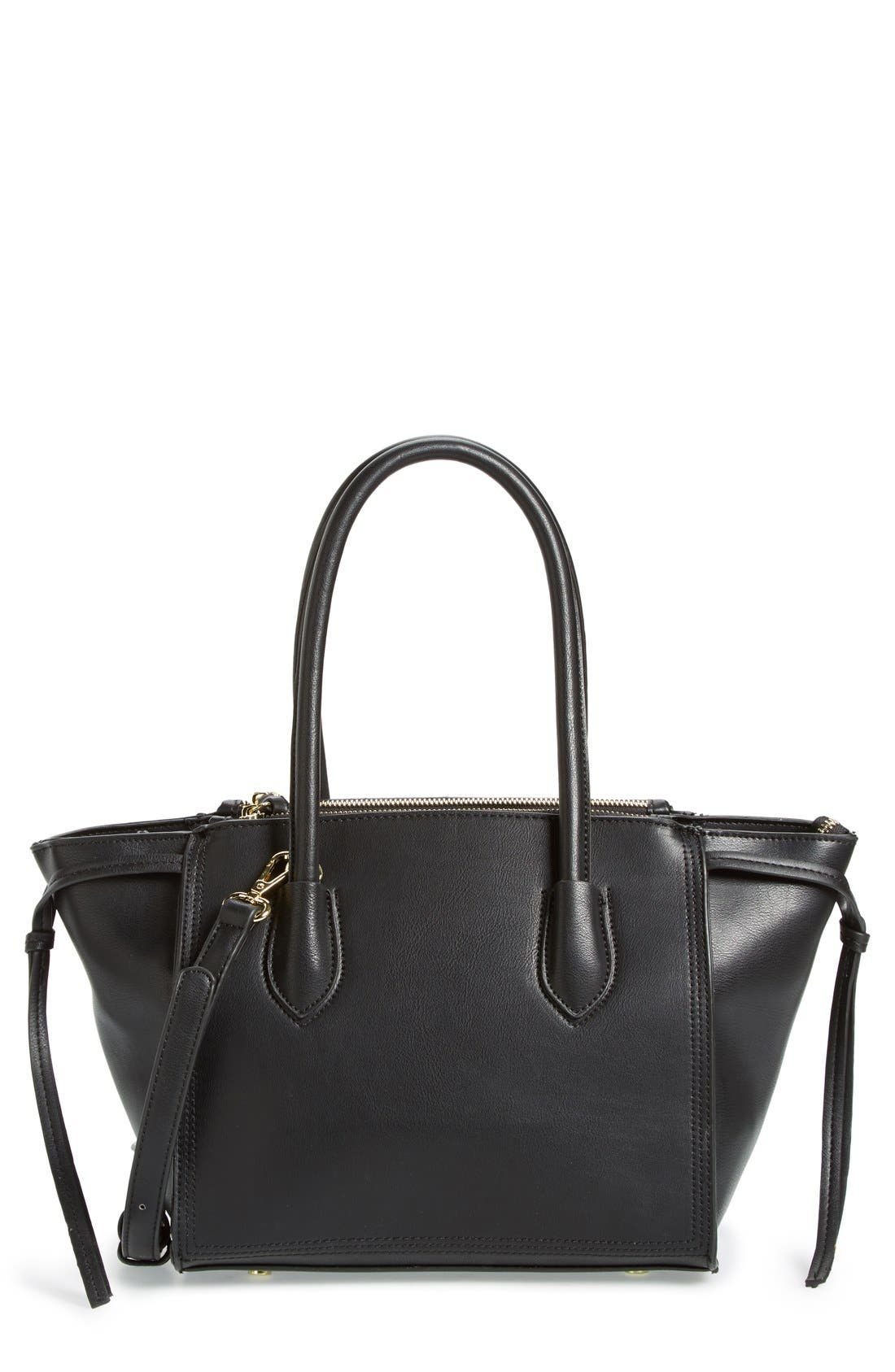 'Farris' Faux Leather Winged Satchel,                         Main,                         color, 001