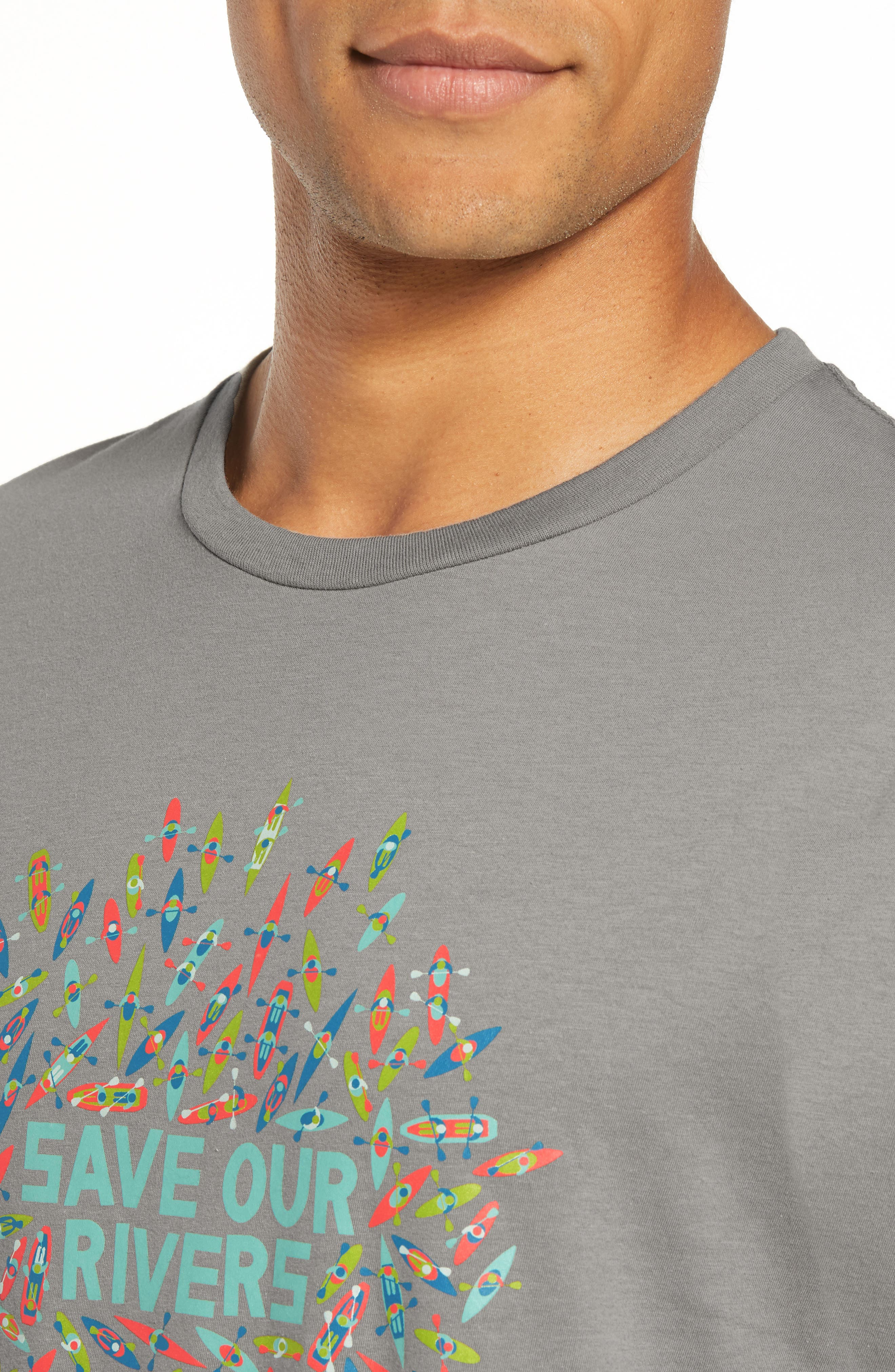 Save Our Rivers Organic Cotton Graphic T-Shirt,                             Alternate thumbnail 4, color,                             FEATHER GREY