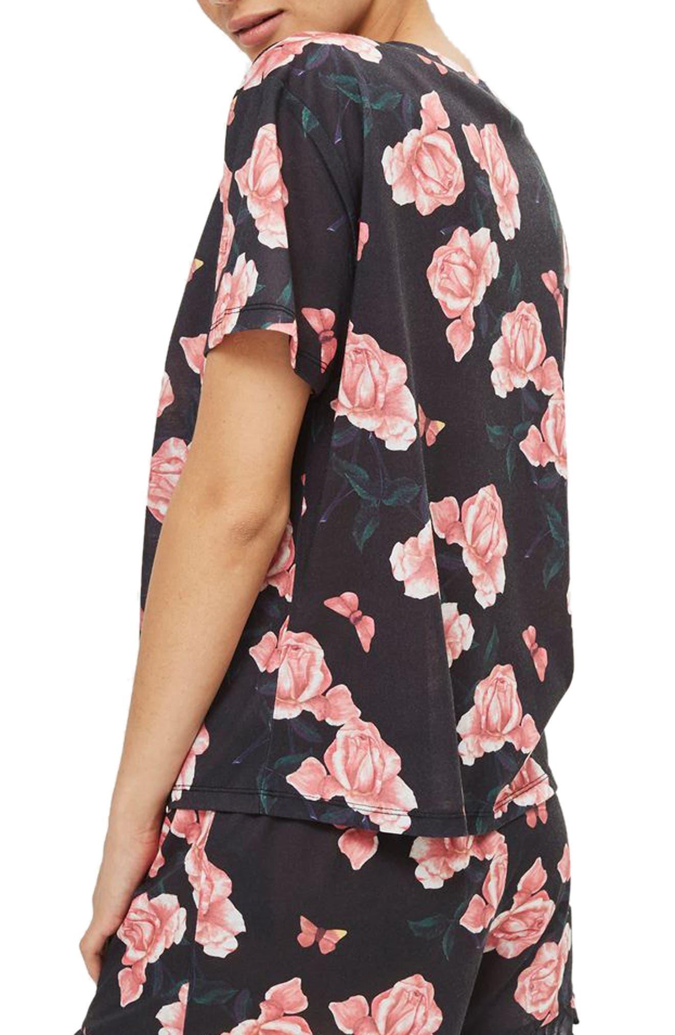 Rose Pajama Top,                             Alternate thumbnail 2, color,                             001