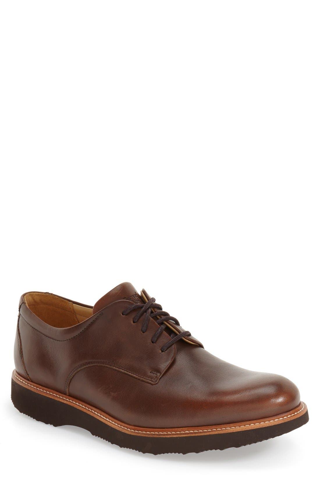 'Founder' Plain Toe Derby,                             Main thumbnail 1, color,                             CHESTNUT LEATHER