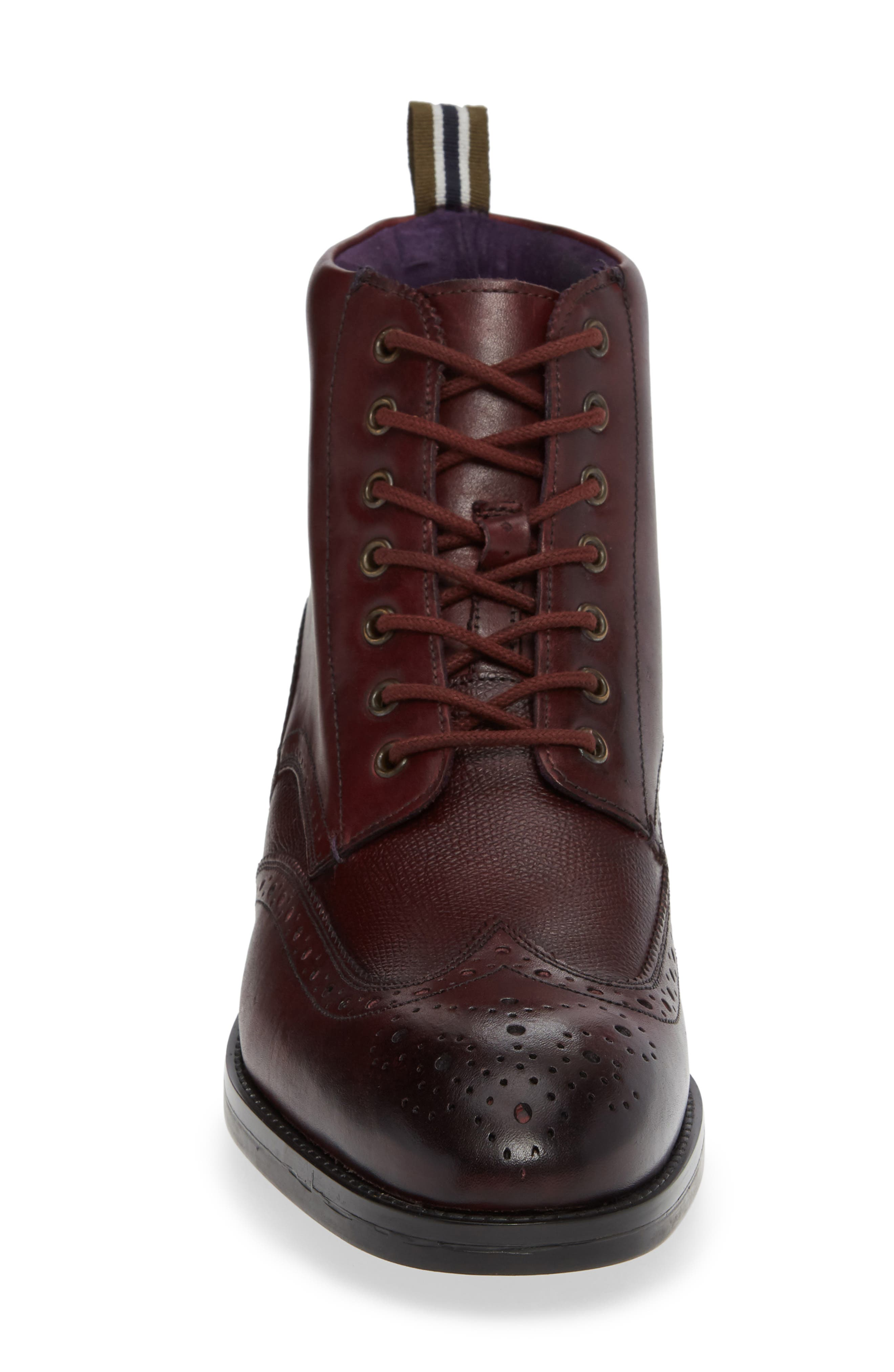 Brogue Ankle Boot,                             Alternate thumbnail 4, color,                             DARK RED LEATHER