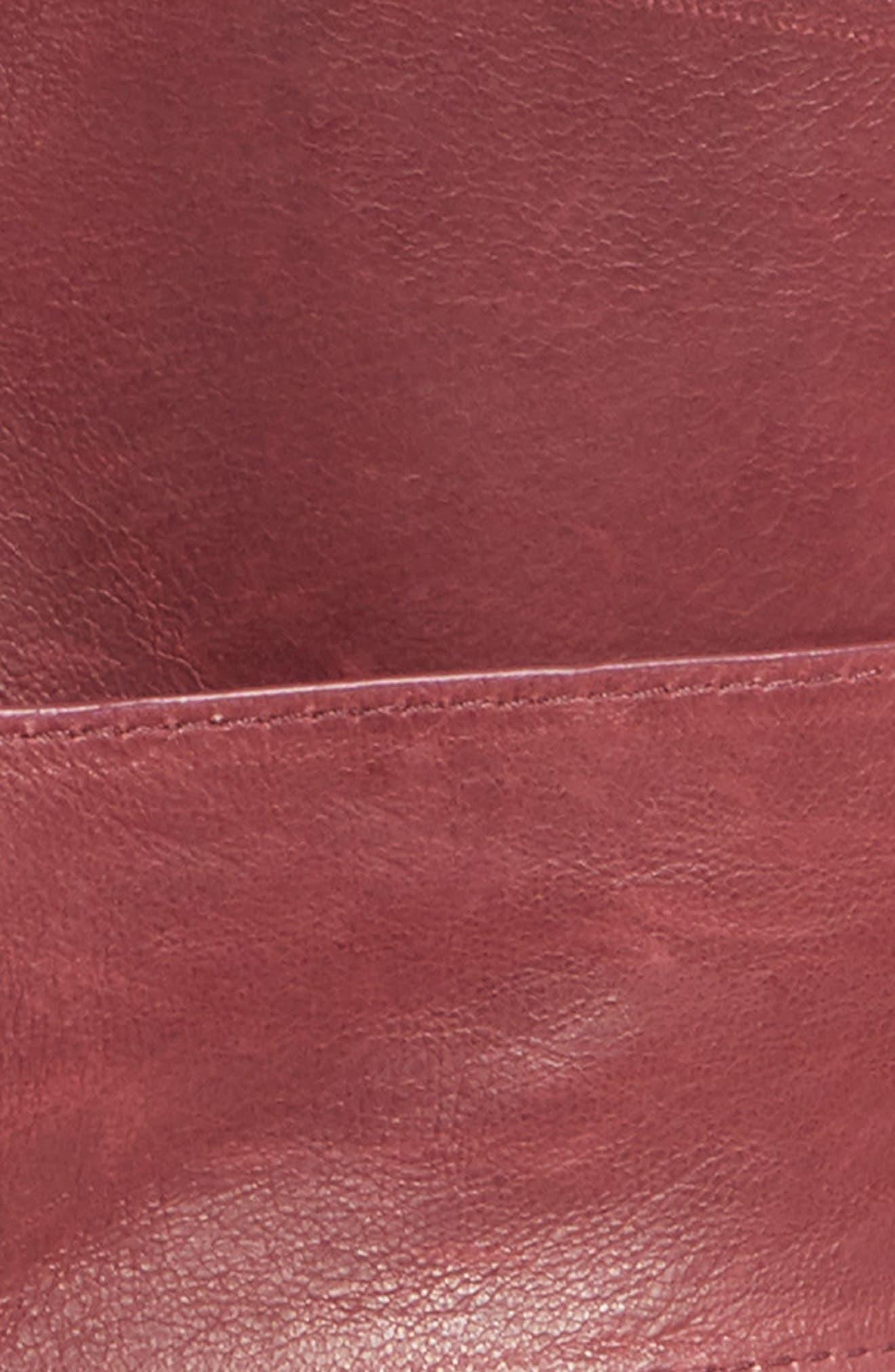 Leather Obi Belt,                             Alternate thumbnail 4, color,                             CABERNET