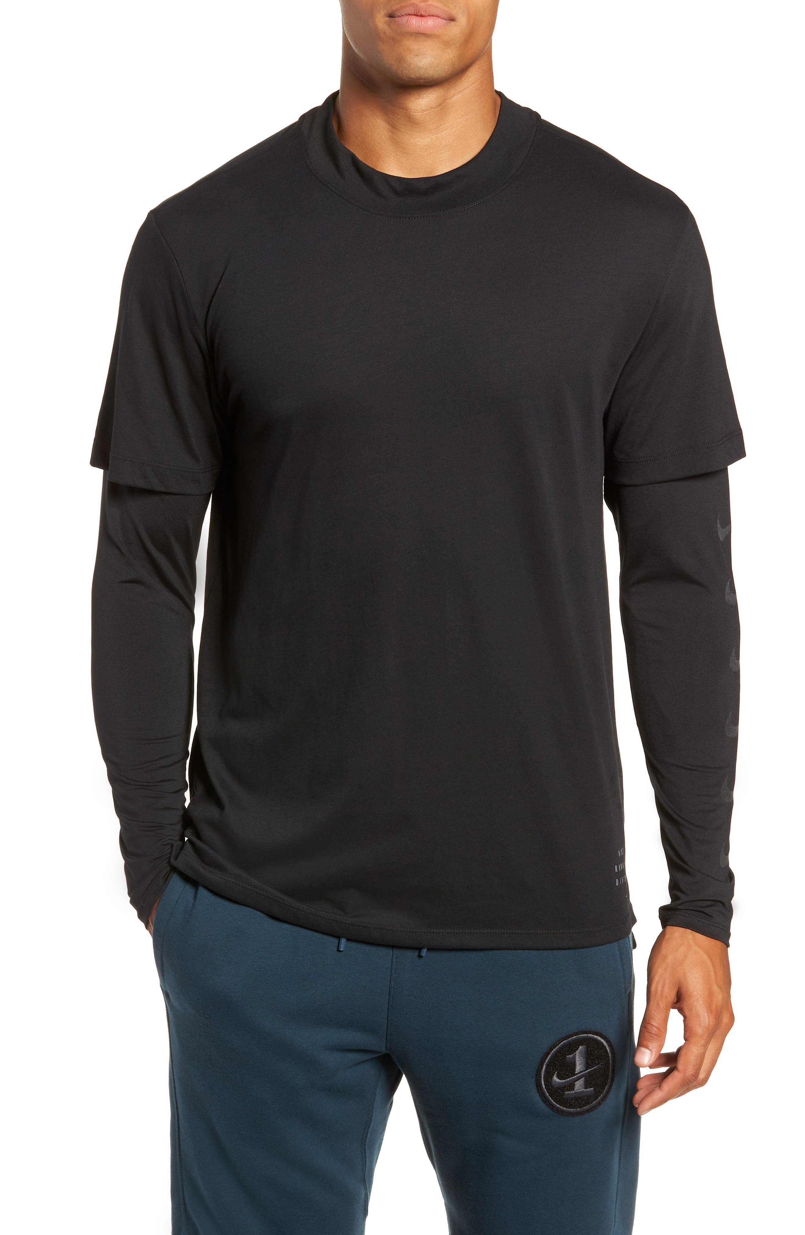 Nike Breathe Rise 365 Layered Long Sleeve T-Shirt Black