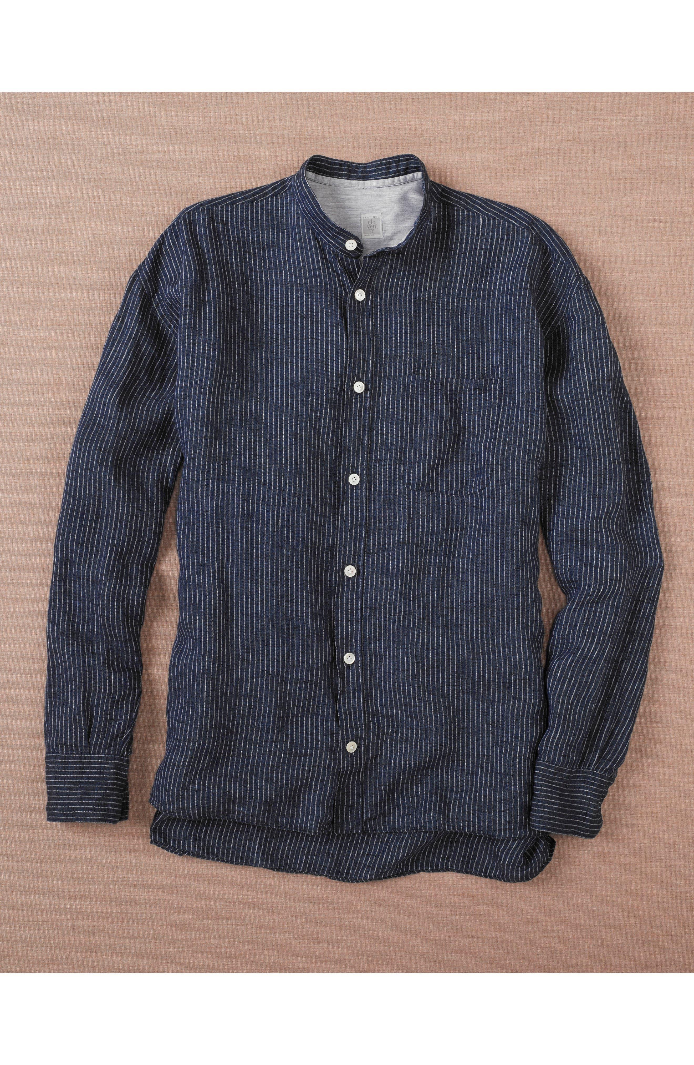 Railroad Stripe Linen Sport Shirt,                             Alternate thumbnail 7, color,                             410