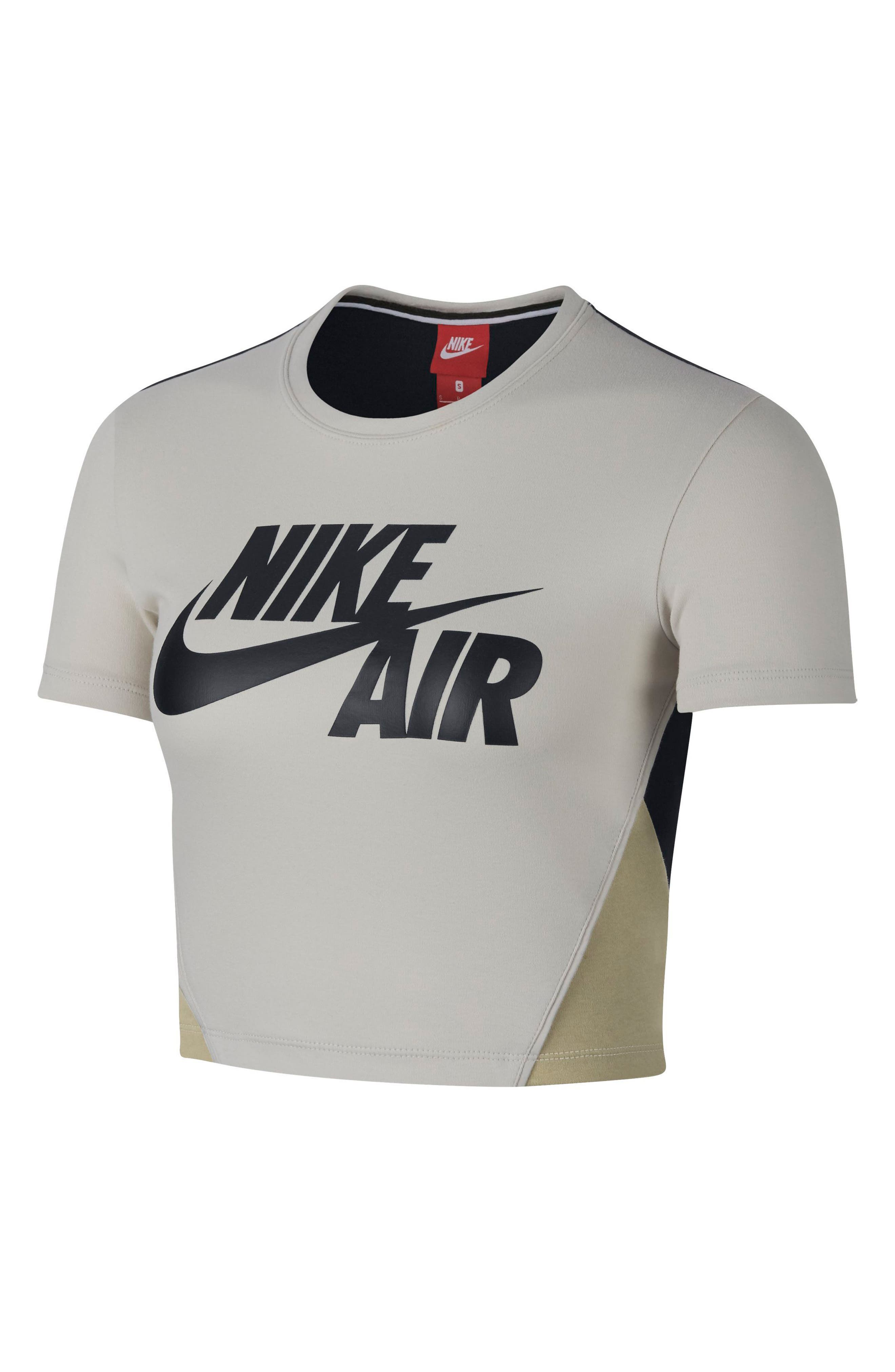 Sportswear Stretch Jersey Crop Top,                             Main thumbnail 1, color,                             LIGHT BONE/BLACK/NEUTRAL OLIVE