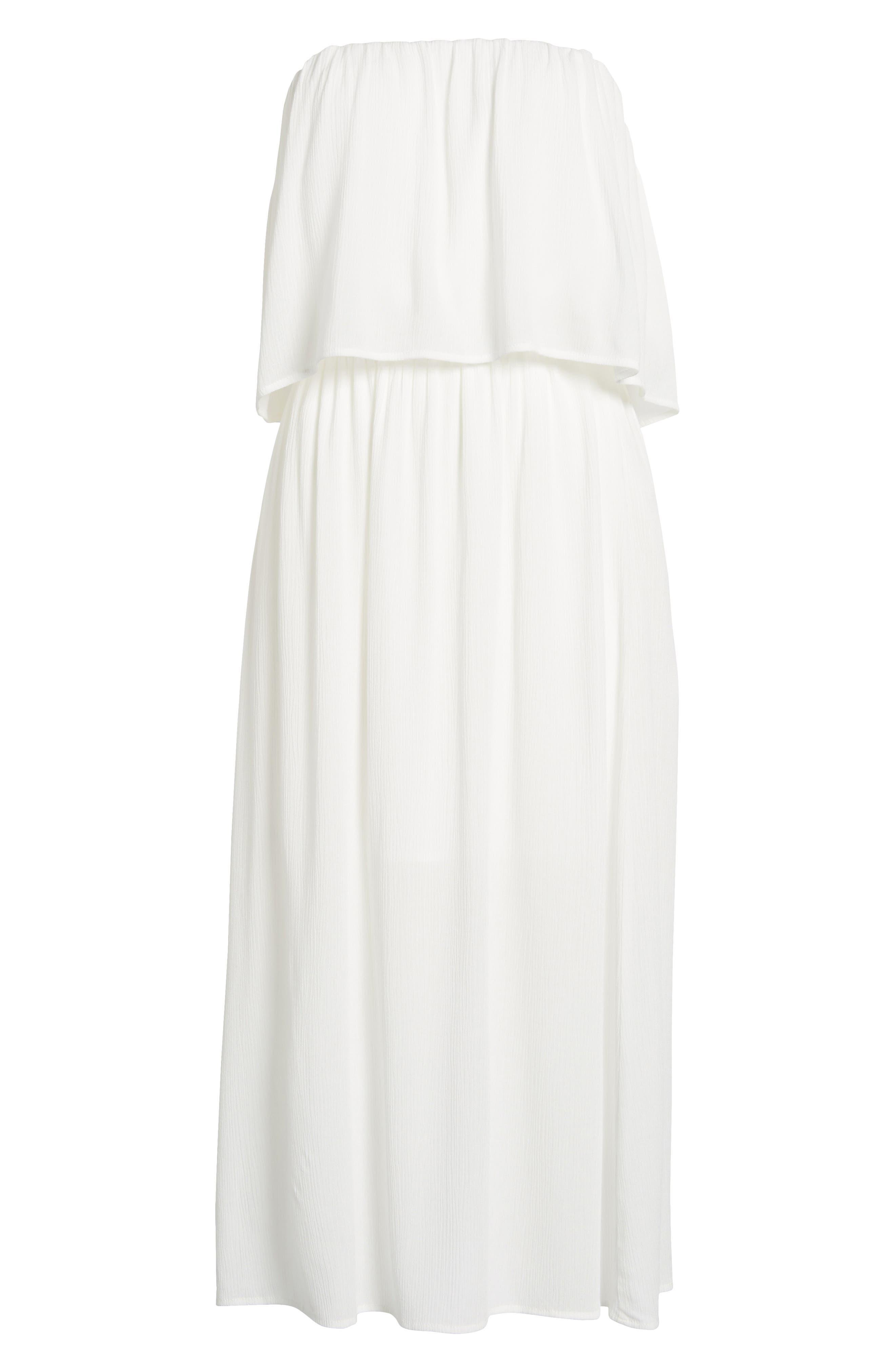 Kizzie Strapless Midi Dress,                             Alternate thumbnail 6, color,