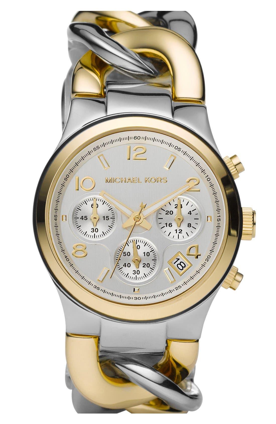Michael Kors Chain Bracelet Chronograph Watch, 38mm,                         Main,                         color,