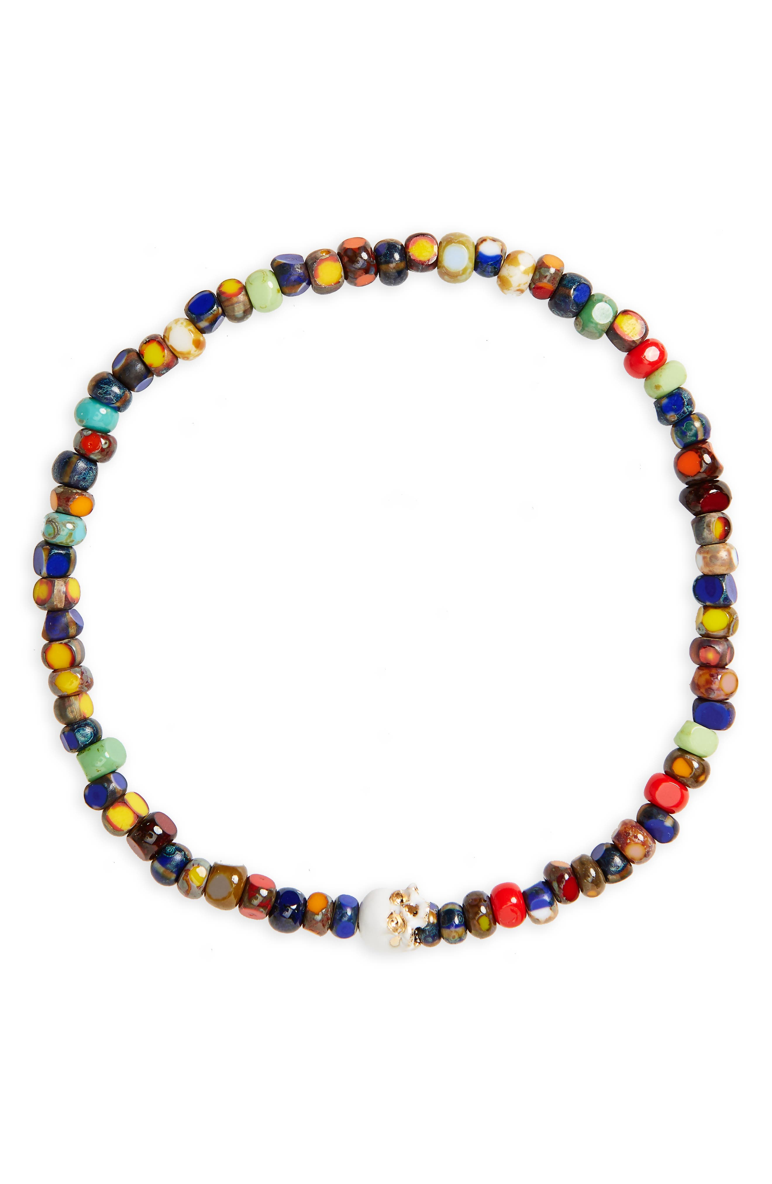 Yellow Gold Half Skull Stretch Bracelet,                         Main,                         color, 401