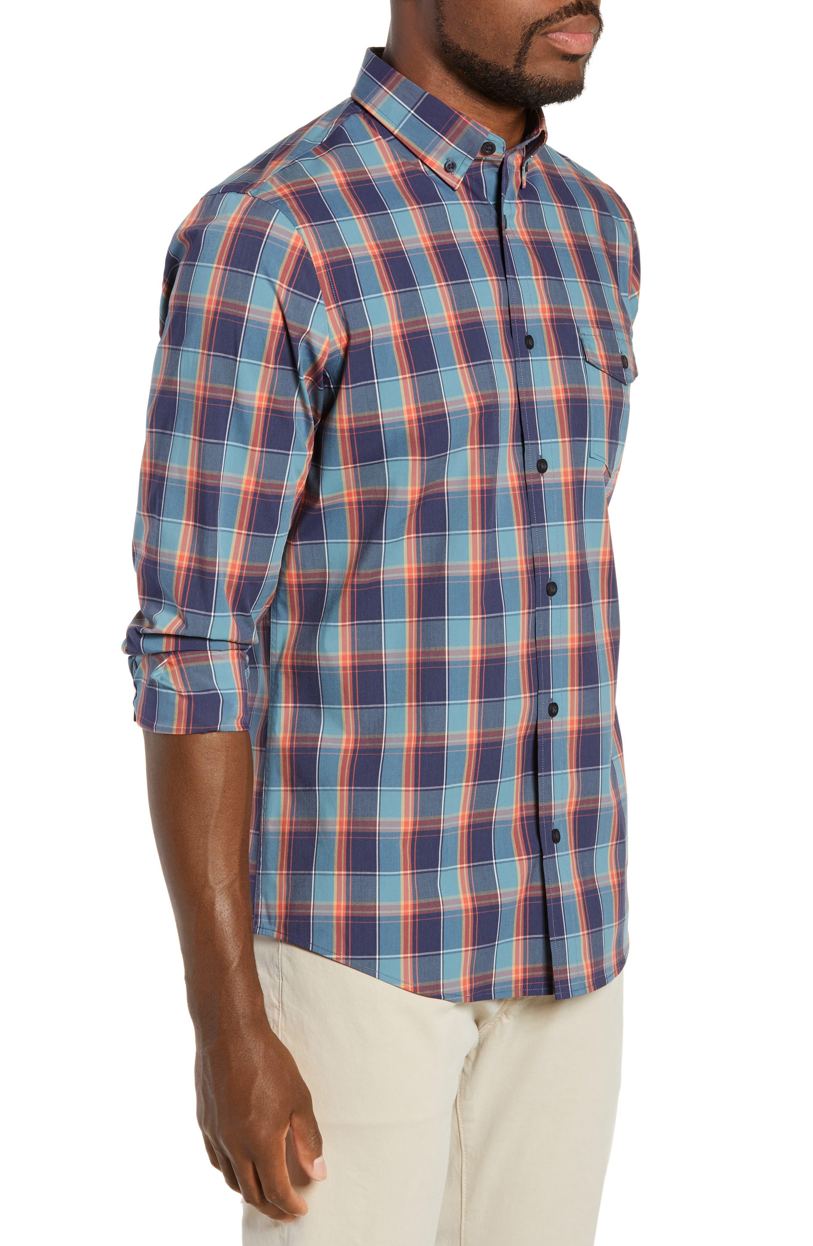Tech-Smart Regular Fit Plaid Sport Shirt,                             Alternate thumbnail 4, color,                             NAVY CORAL PLAID