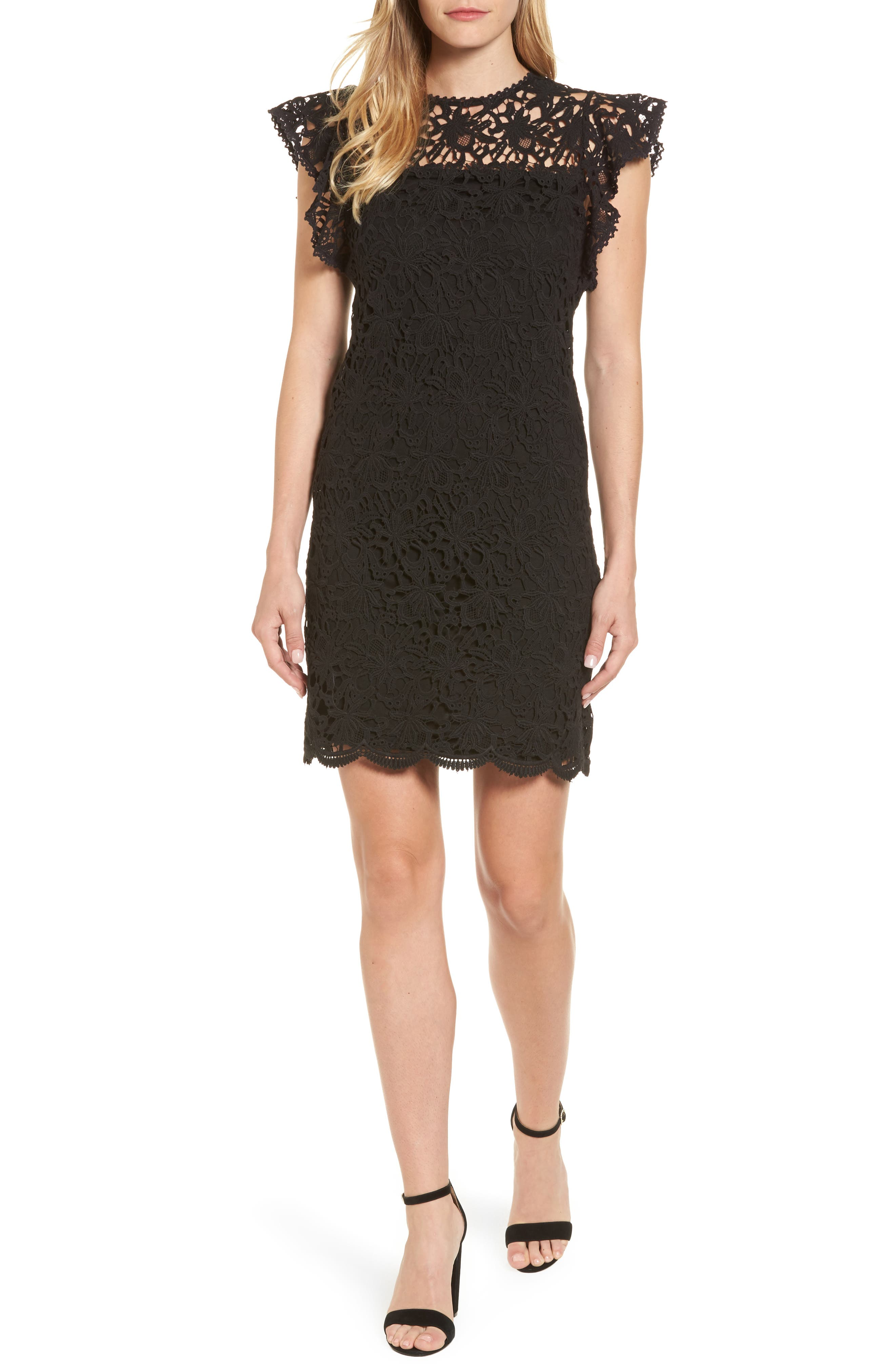 Flutter Sleeve Lace Sheath Dress,                             Main thumbnail 1, color,                             001