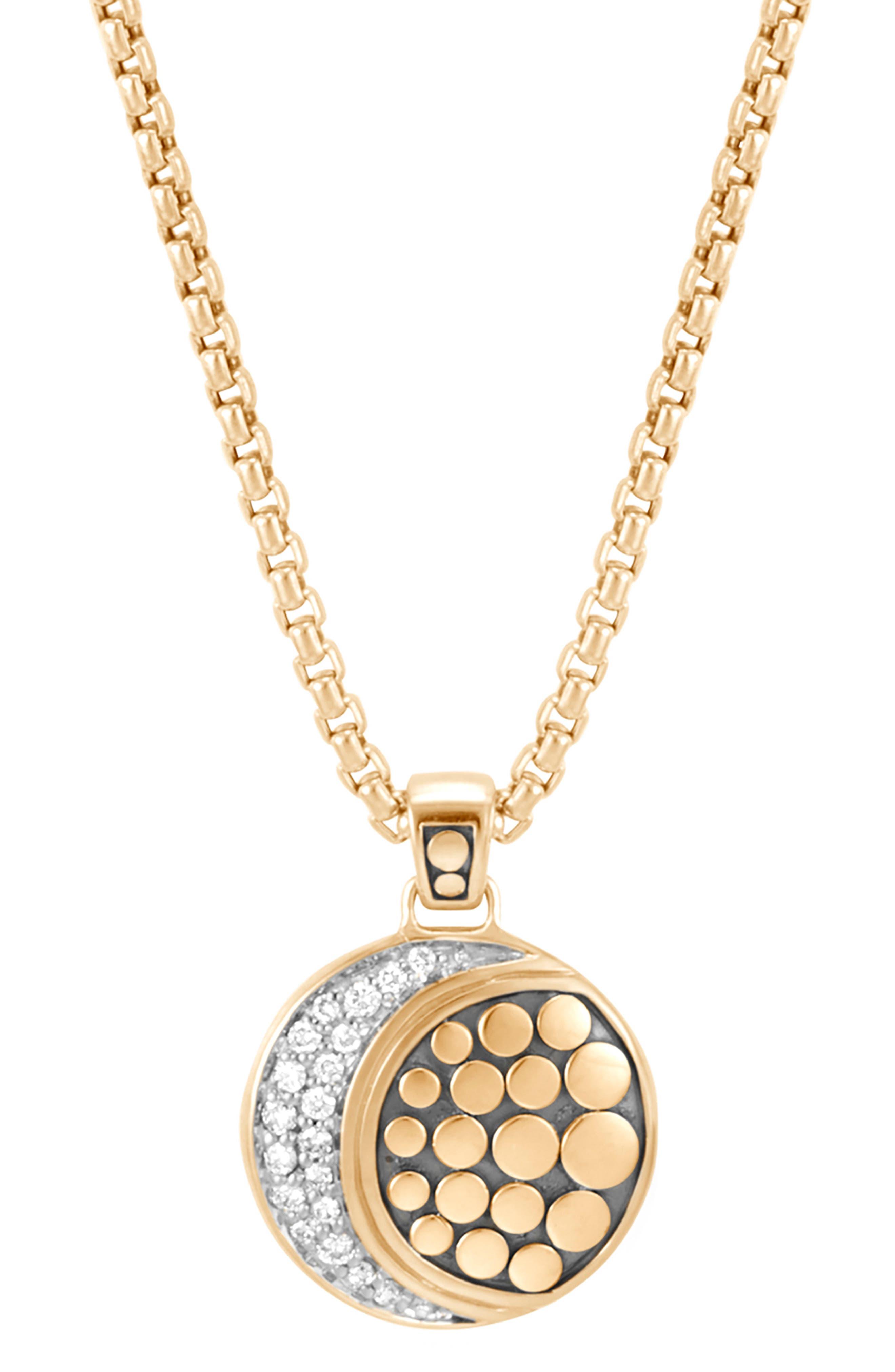 Dot Moon Diamond Pavé Pendant Necklace,                             Main thumbnail 1, color,