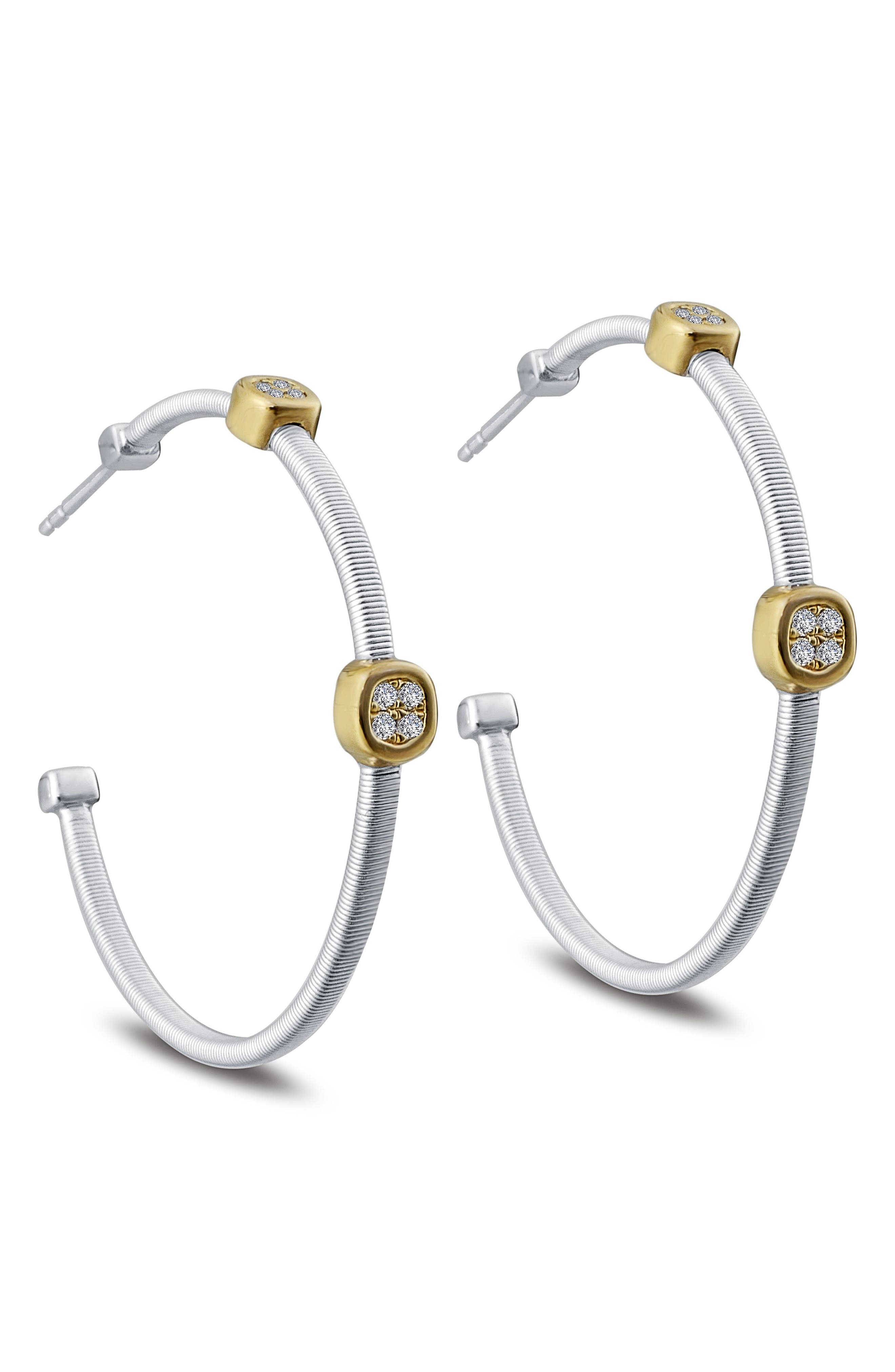 Milano Simulated Diamond Station Hoop Earrings,                             Alternate thumbnail 3, color,                             TWO TONE/ CLEAR