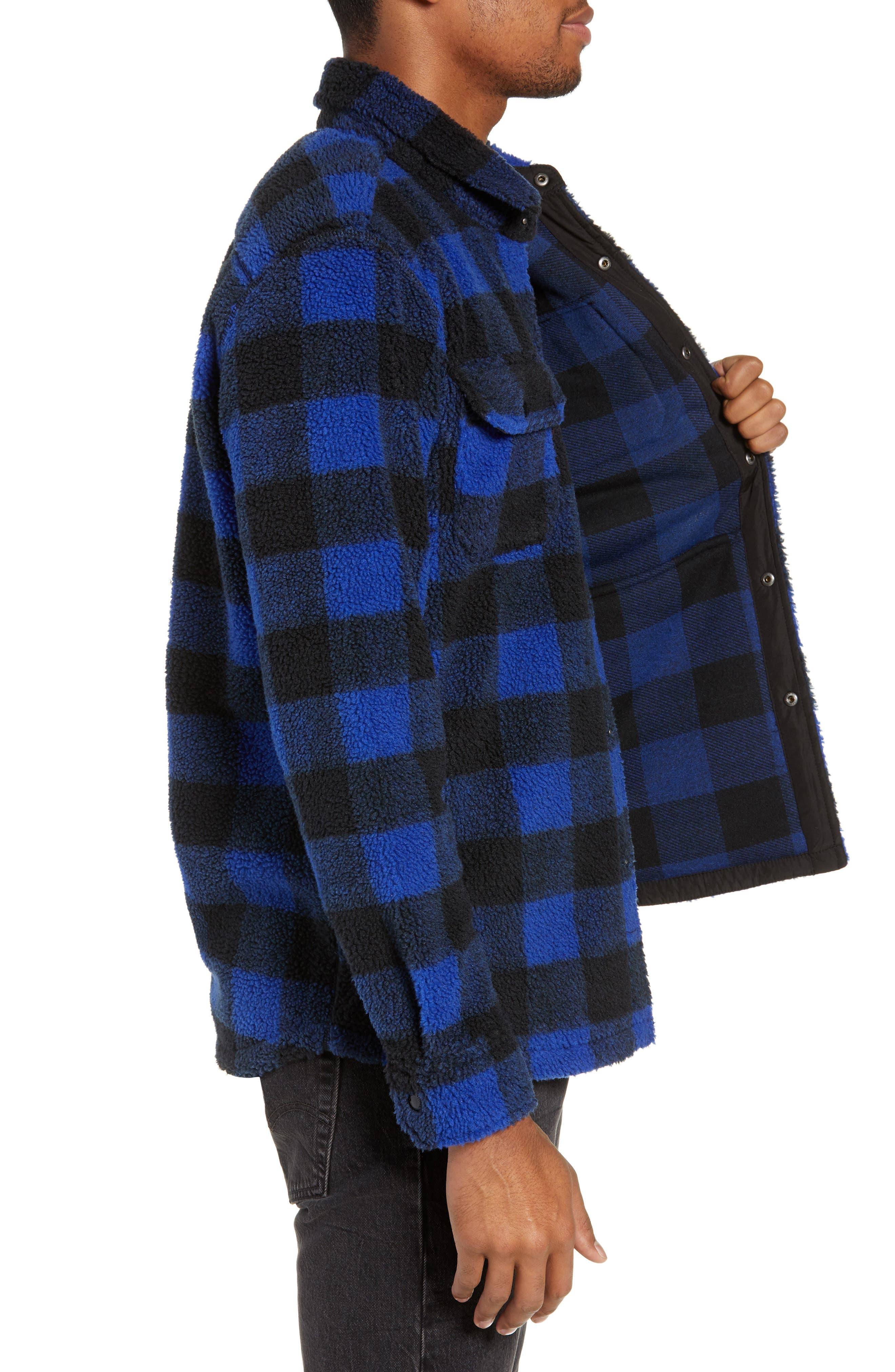 Plaid Faux Shearling Shirt,                             Alternate thumbnail 3, color,                             BLUE