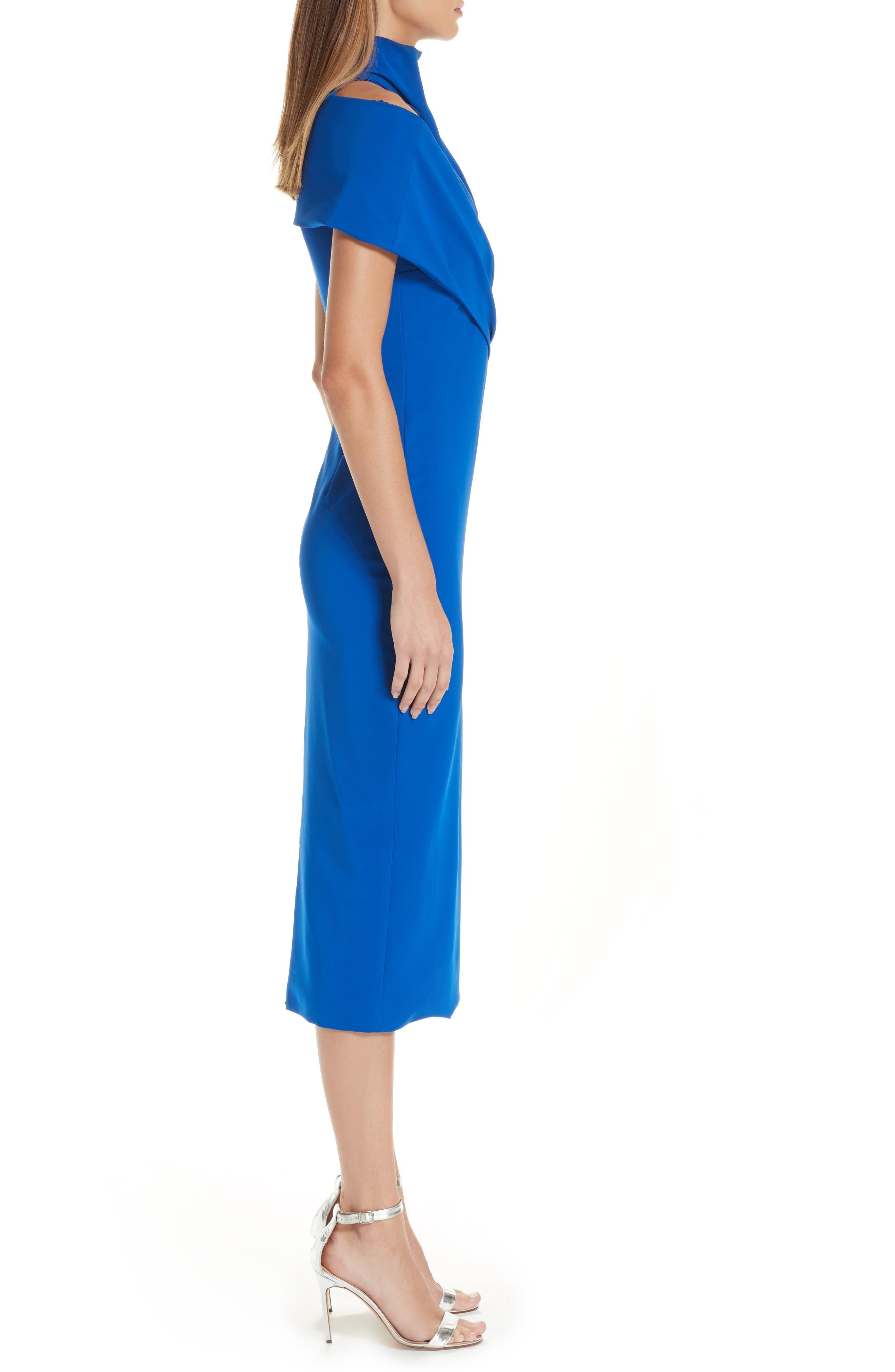 Cutout Pencil Dress,                             Alternate thumbnail 3, color,                             LAPIS