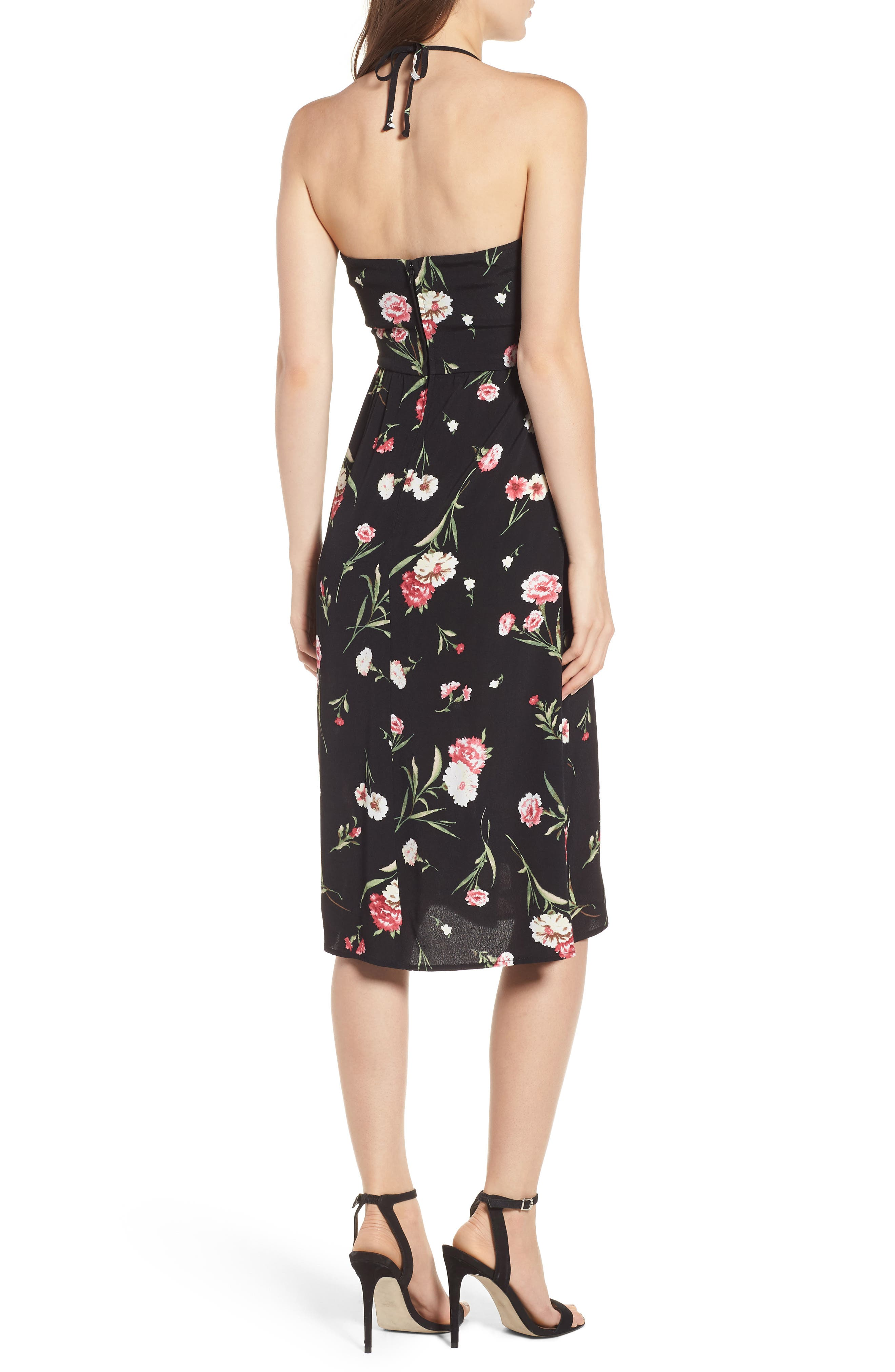 Tie Front Floral Dress,                             Alternate thumbnail 2, color,                             001