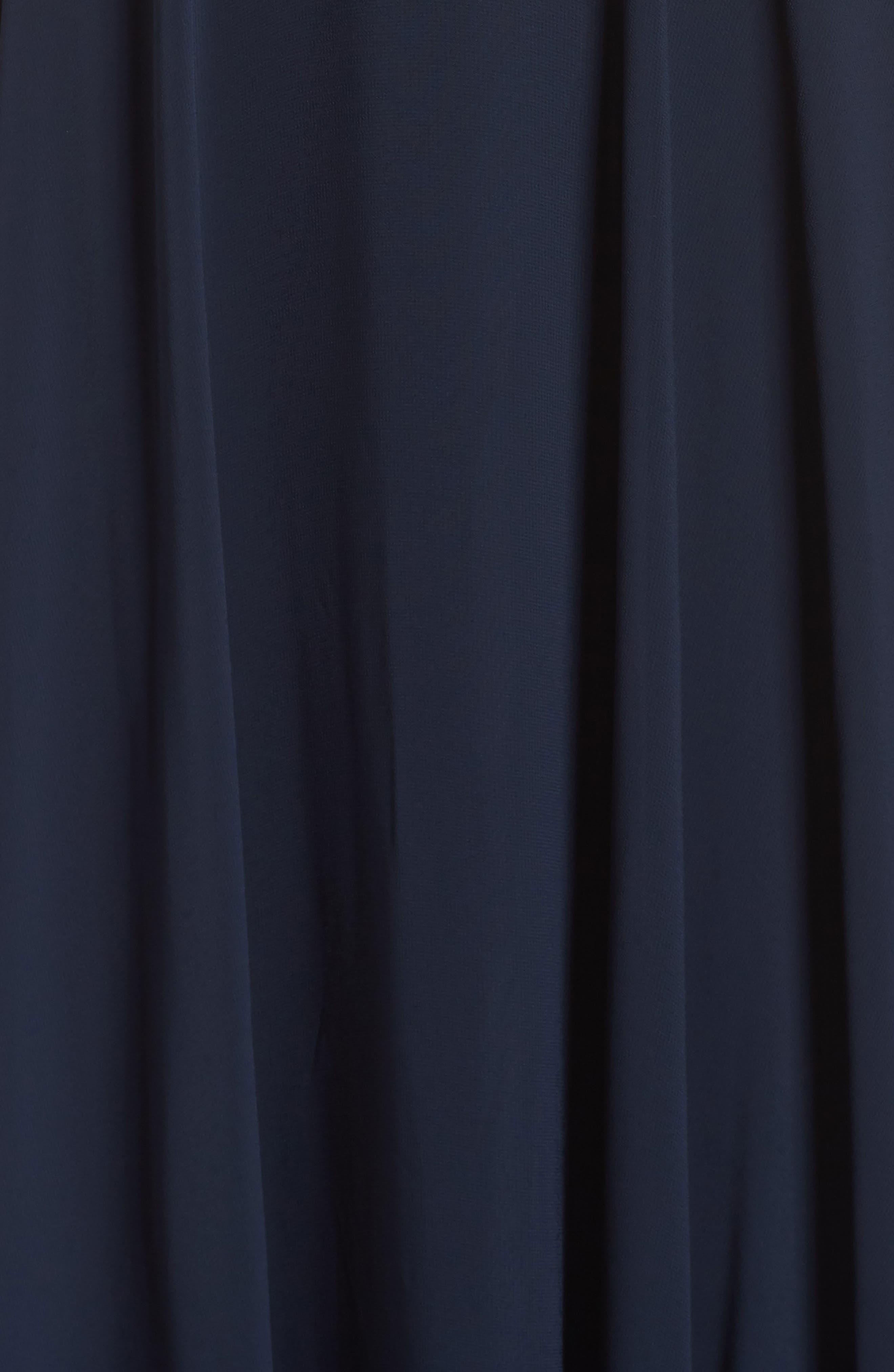 Ryan Illusion Neck Chiffon Gown,                             Alternate thumbnail 6, color,                             NAVY