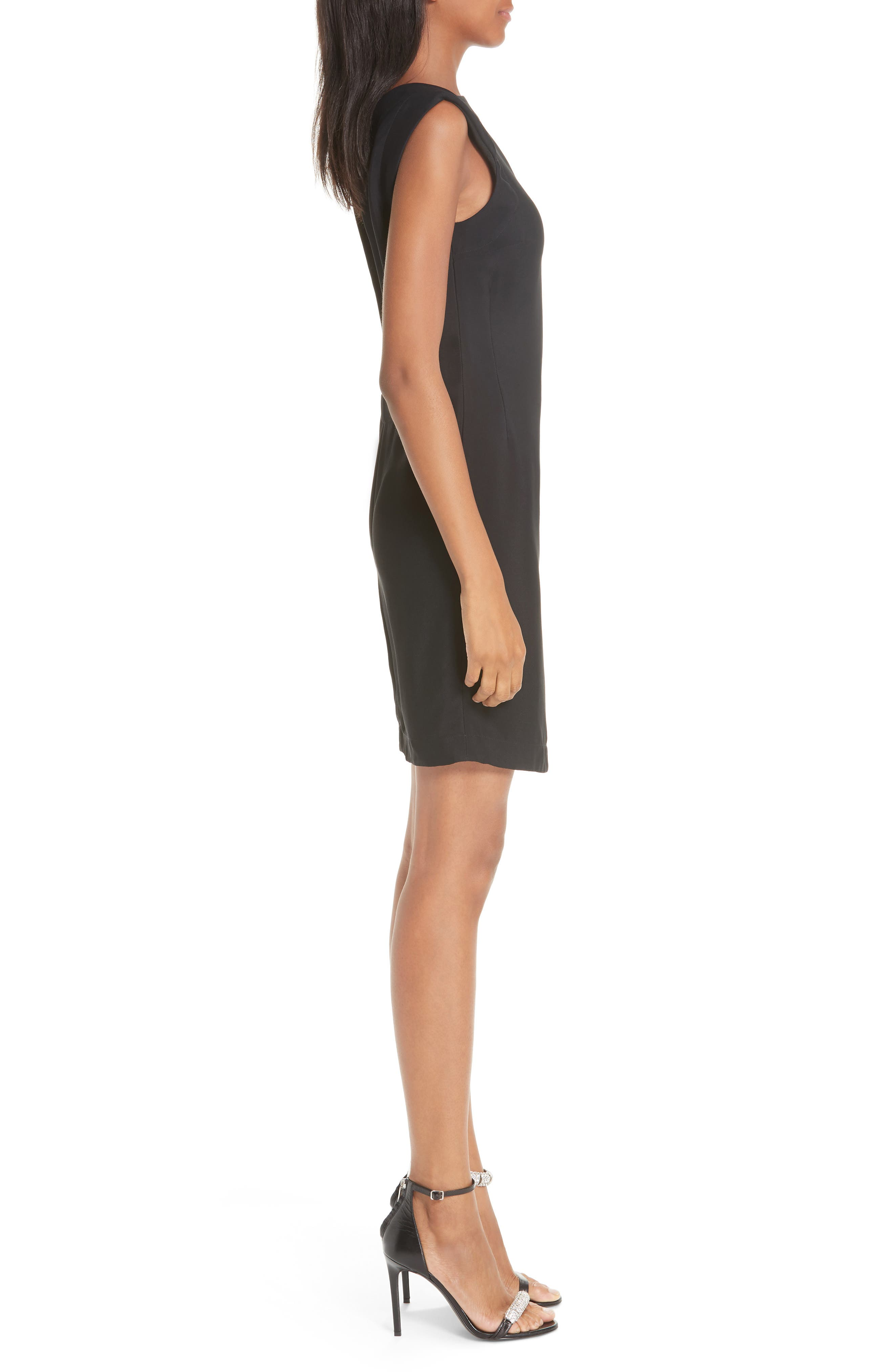 Open Back Cady Dress,                             Alternate thumbnail 3, color,                             BLACK
