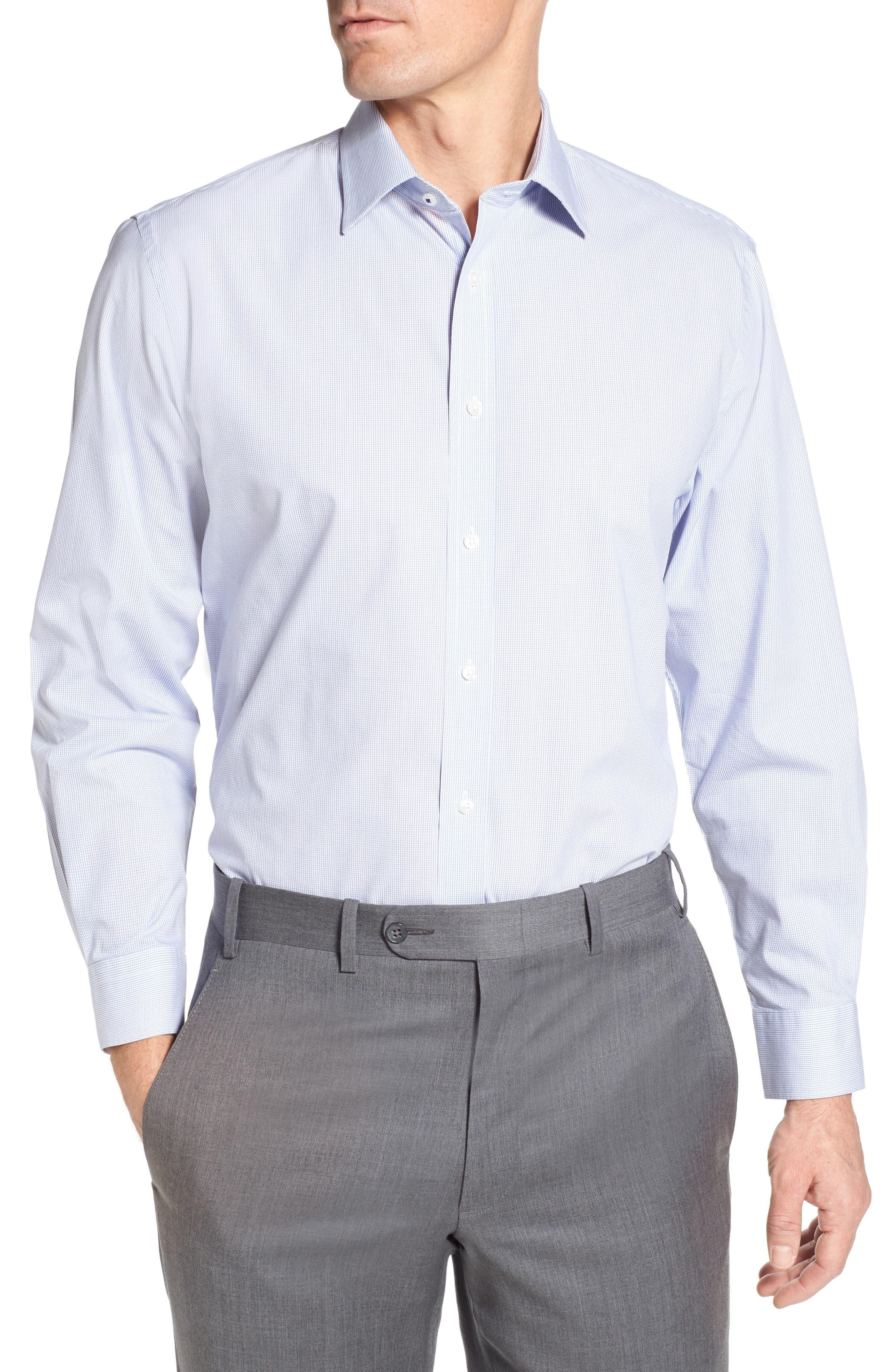 Tech-Smart Traditional Fit Stretch Check Dress Shirt,                             Main thumbnail 1, color,                             420