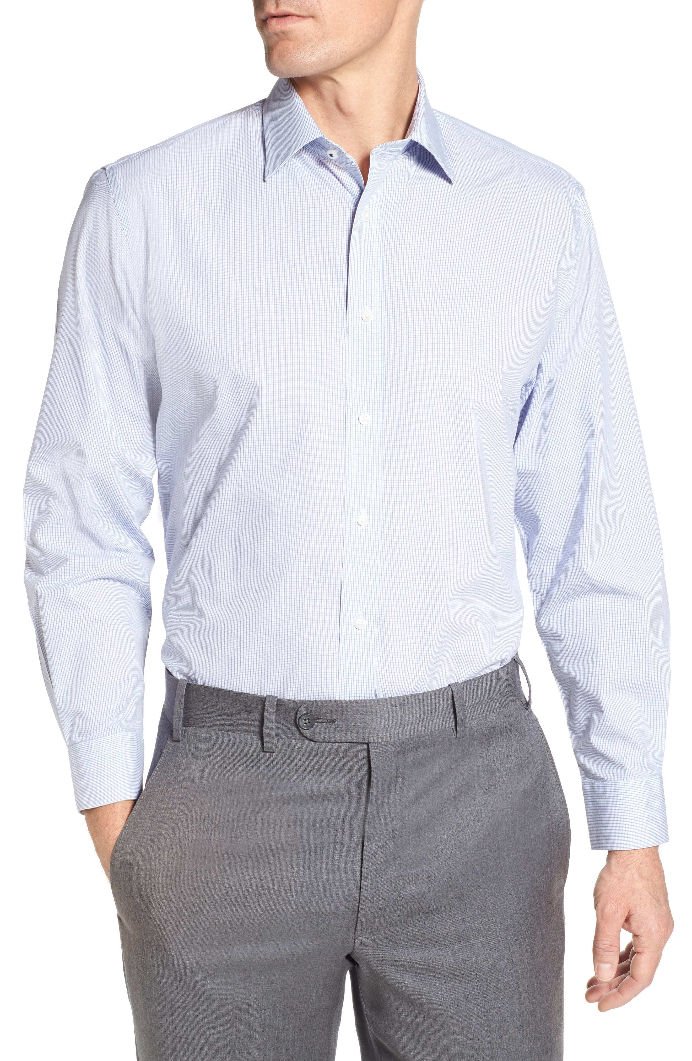 Tech-Smart Traditional Fit Stretch Check Dress Shirt,                         Main,                         color, 420
