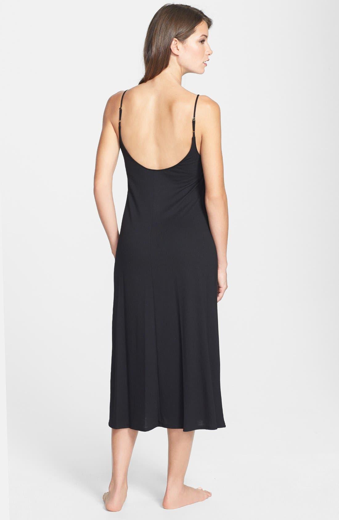 Shangri La Nightgown,                             Alternate thumbnail 8, color,                             BLACK