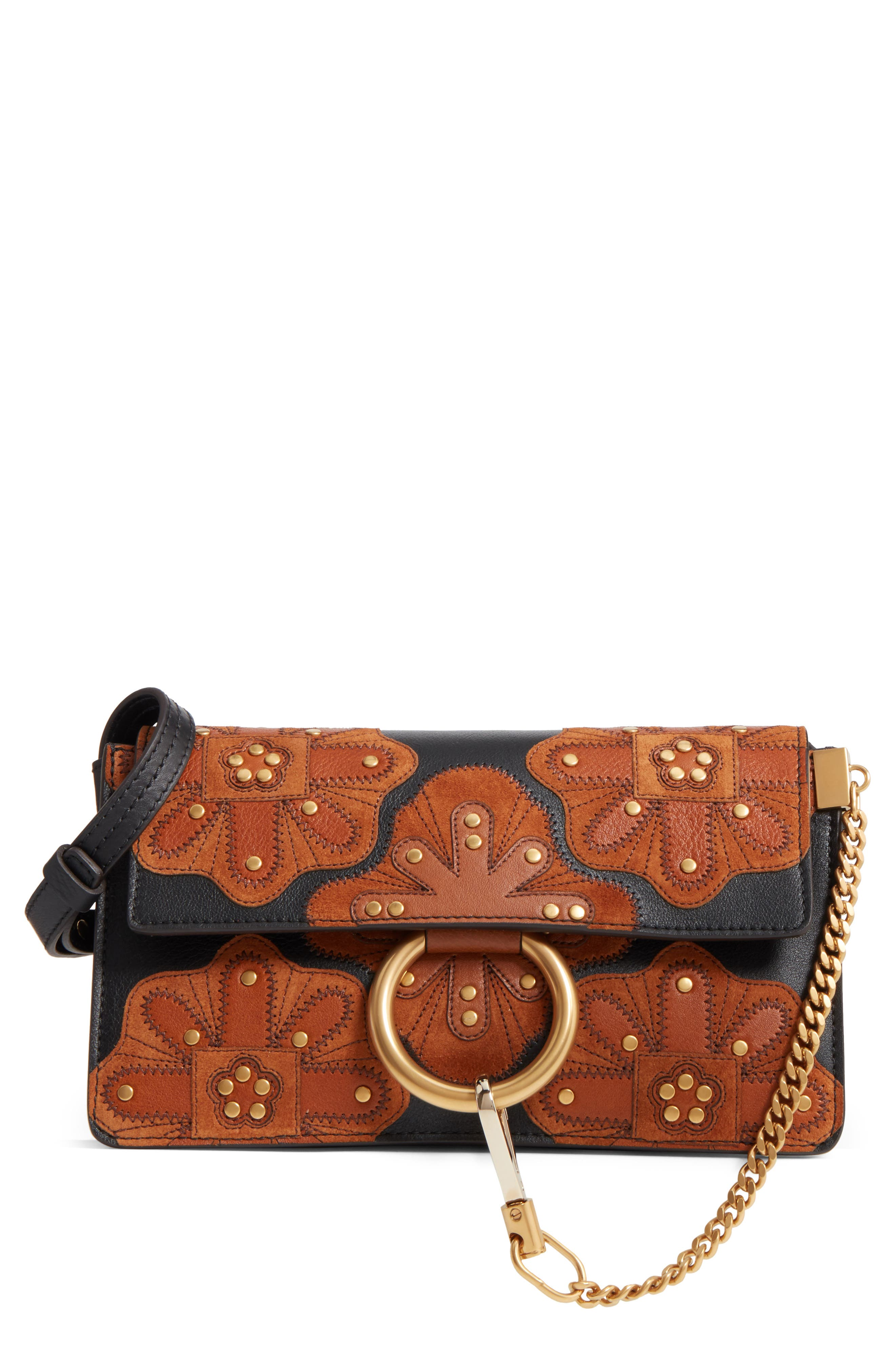 Small Faye Studded Leather & Suede Crossbody Bag,                         Main,                         color, 001