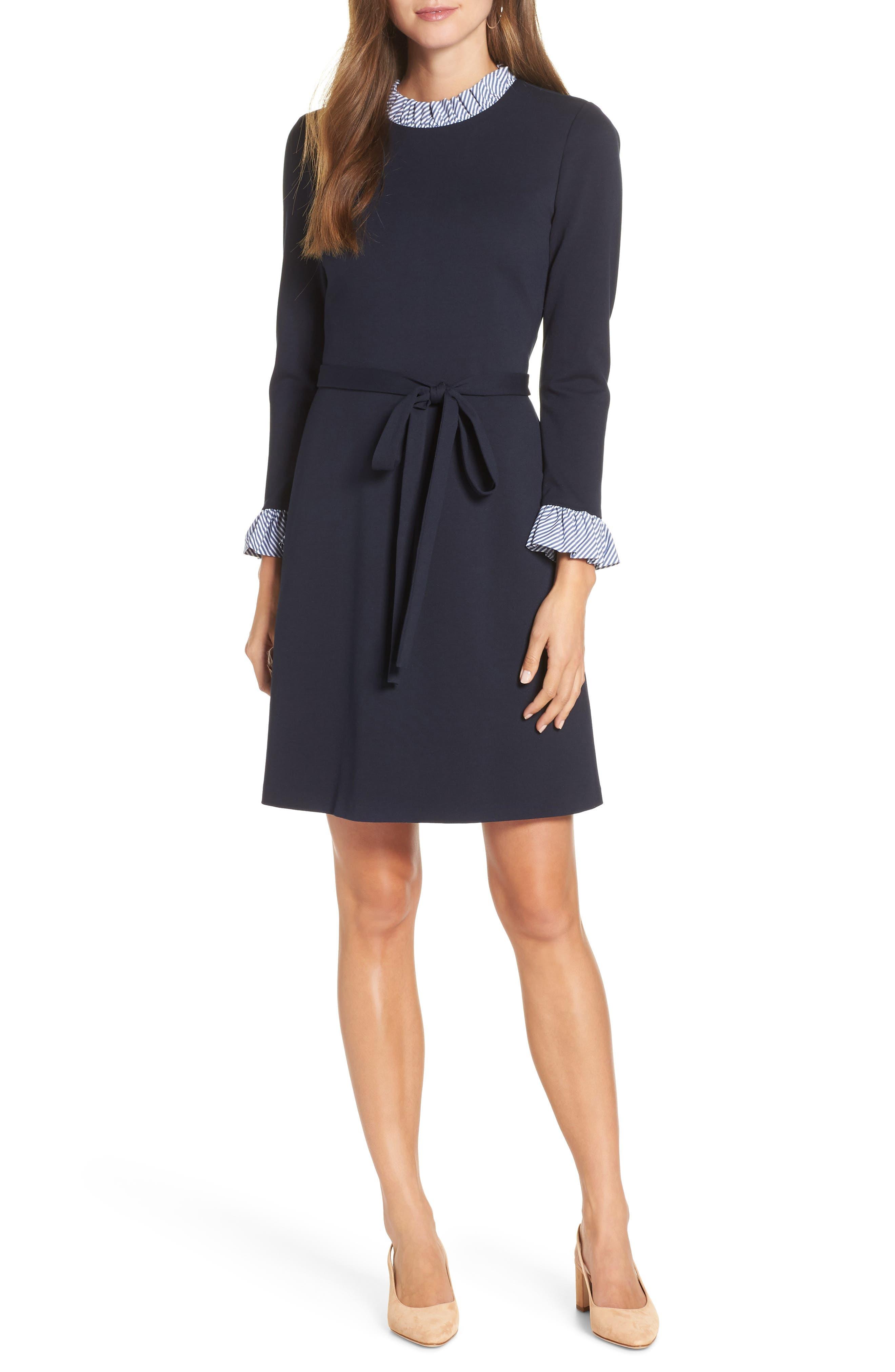 Long Sleeve Ruffle Detail Shirtdress,                         Main,                         color, NAVY