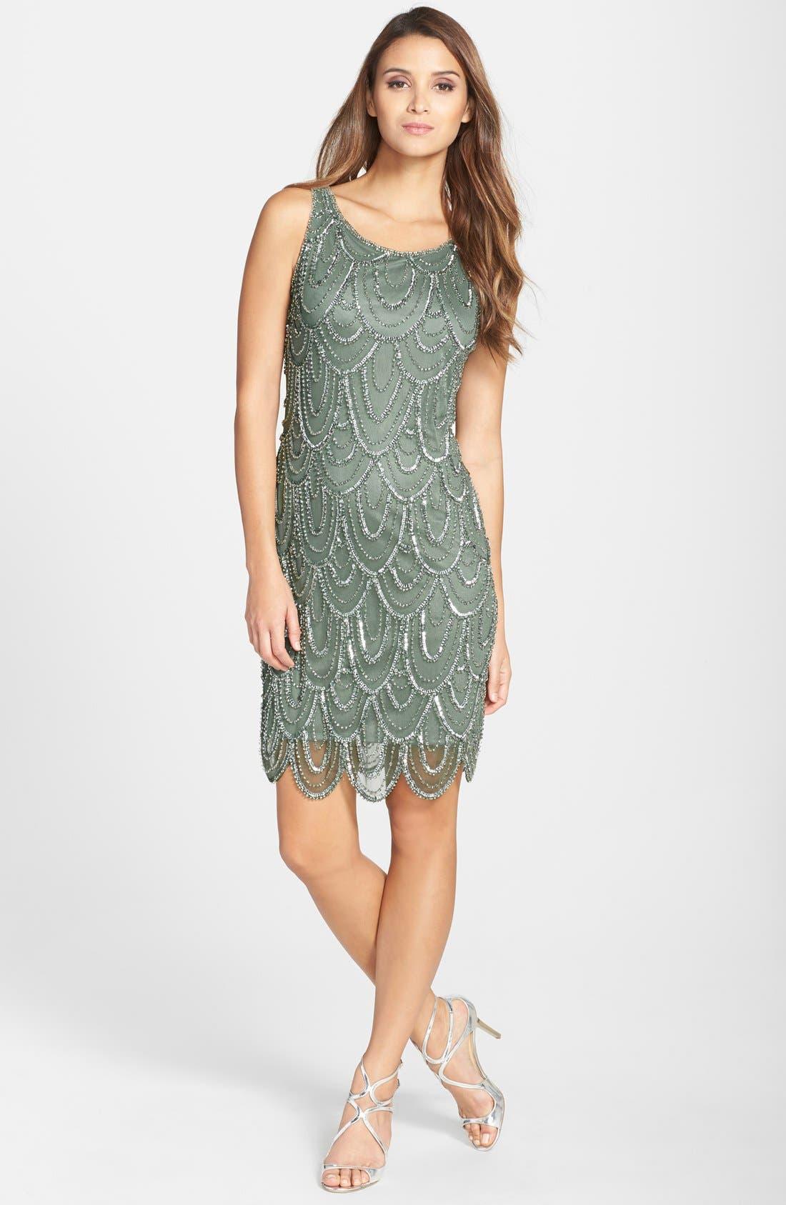 Embellished Mesh Sheath Dress,                             Alternate thumbnail 71, color,
