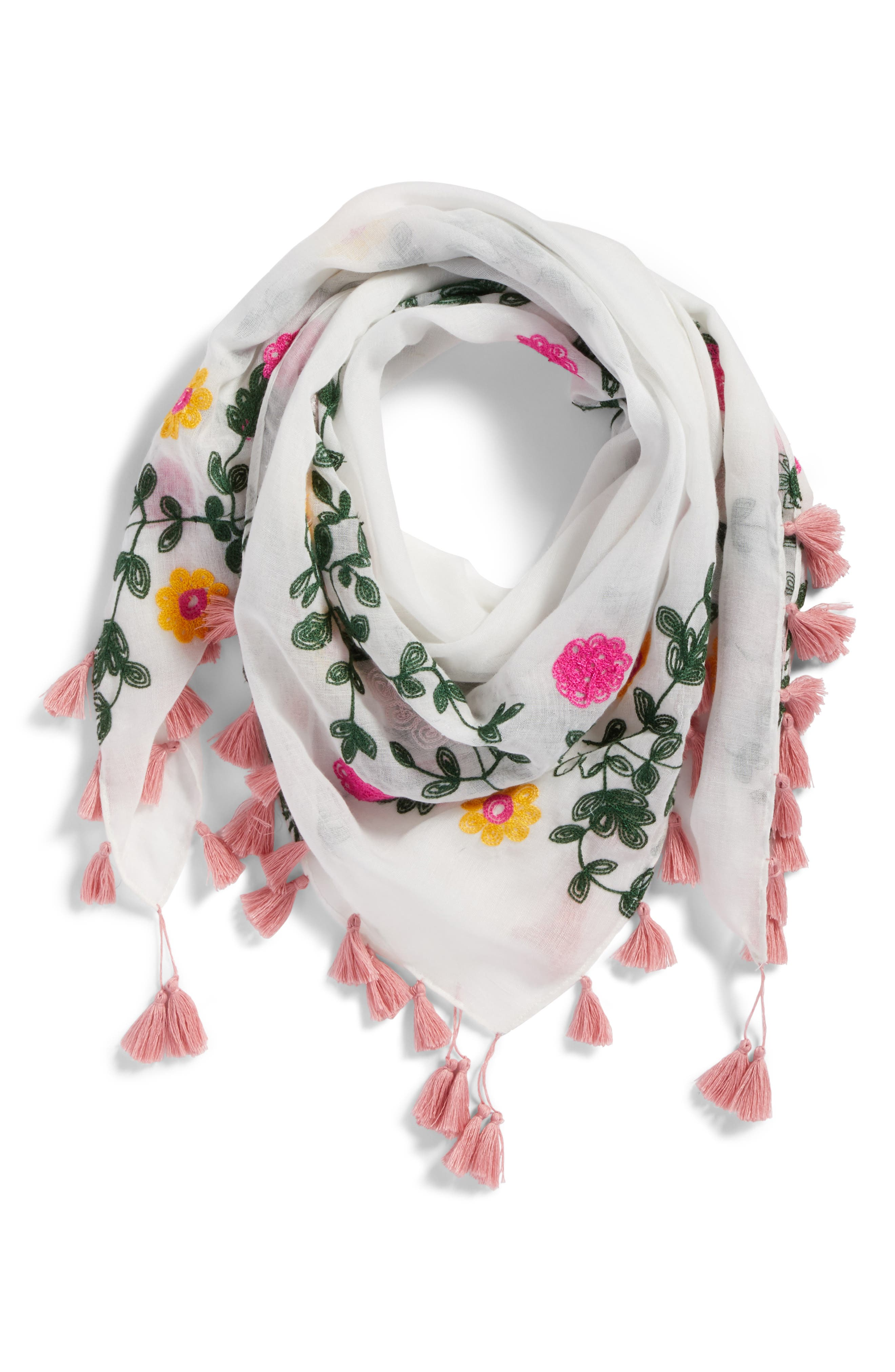 Embroidered Square Scarf,                             Alternate thumbnail 6, color,