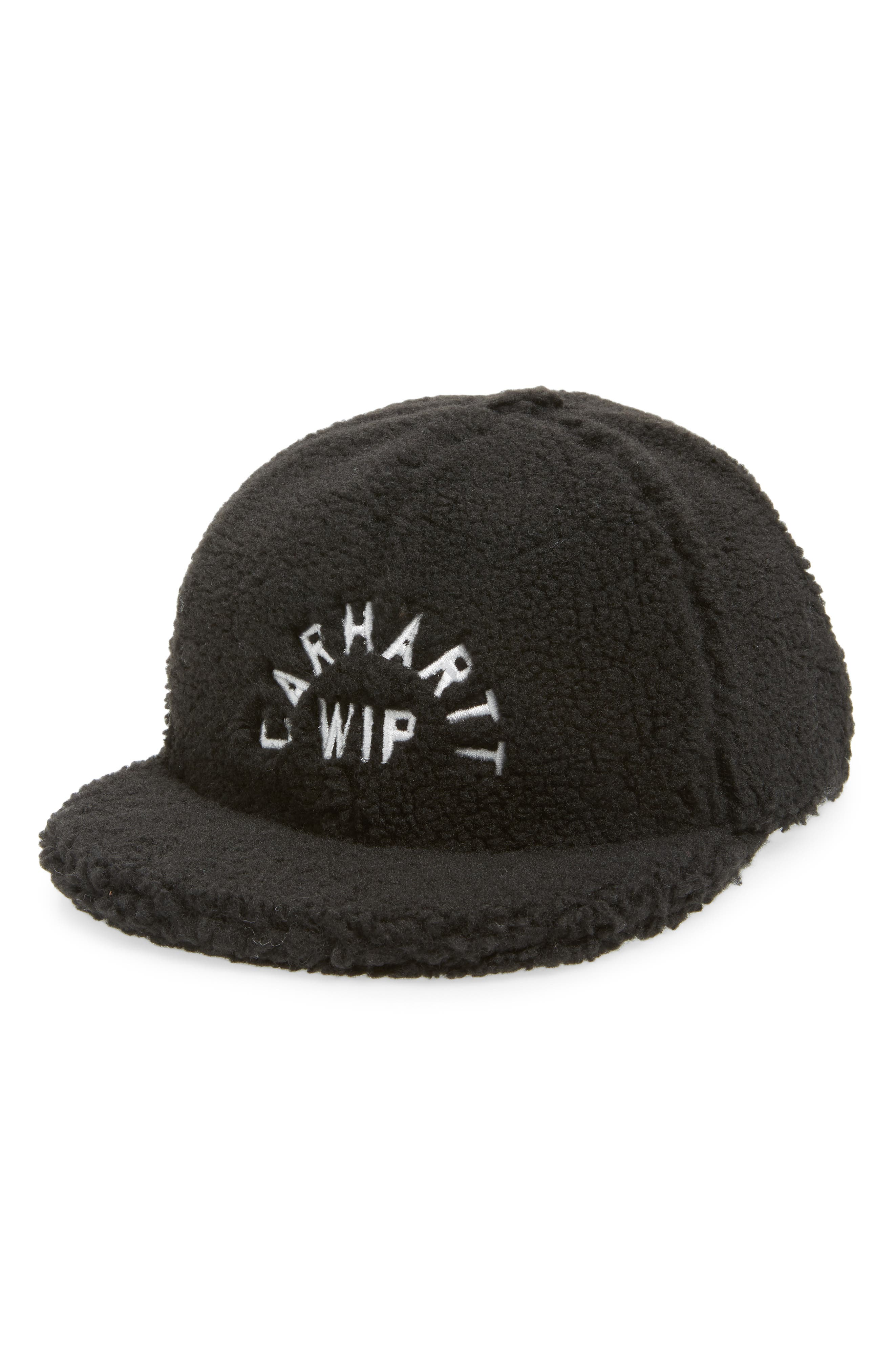 Pile Faux Shearling Cap,                         Main,                         color, BLACK / WAX