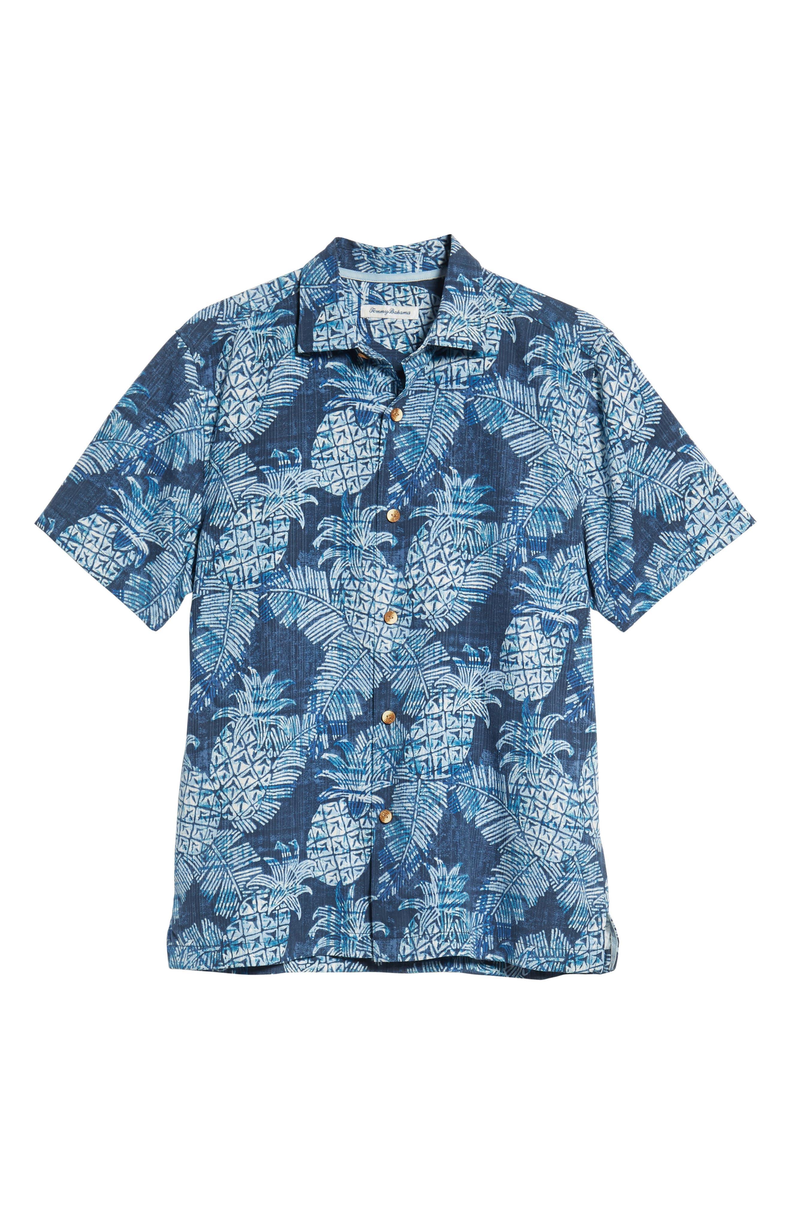 Coastal Colada Silk Blend Camp Shirt,                             Alternate thumbnail 6, color,                             ZEPHYR BLUE